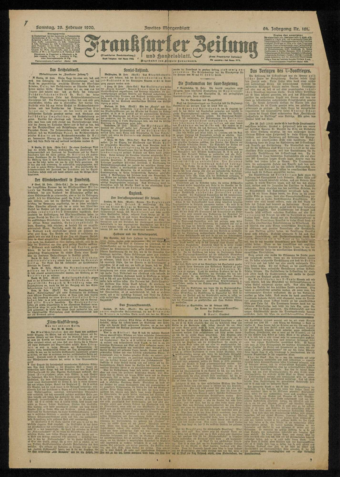 Der U-Boot-Krieg und der Kriegseintritt Amerikas. Zu den Erinnerungen an Tirpitz. Zeitungsartikel, Bild 3