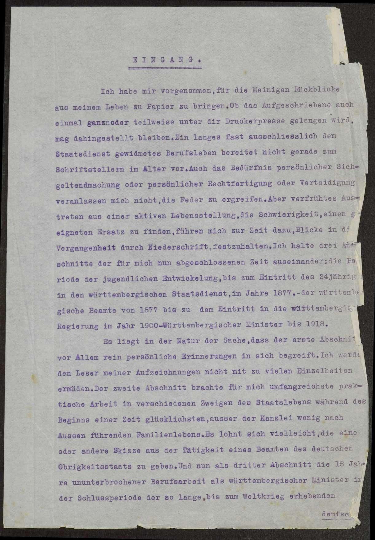 Lebenserinnerungen von Weizsäcker. Maschinenschriftliche Abschrift von Gustel Meibom. Weiterführung von Ernst v. Weizsäcker, 1926, Bild 2