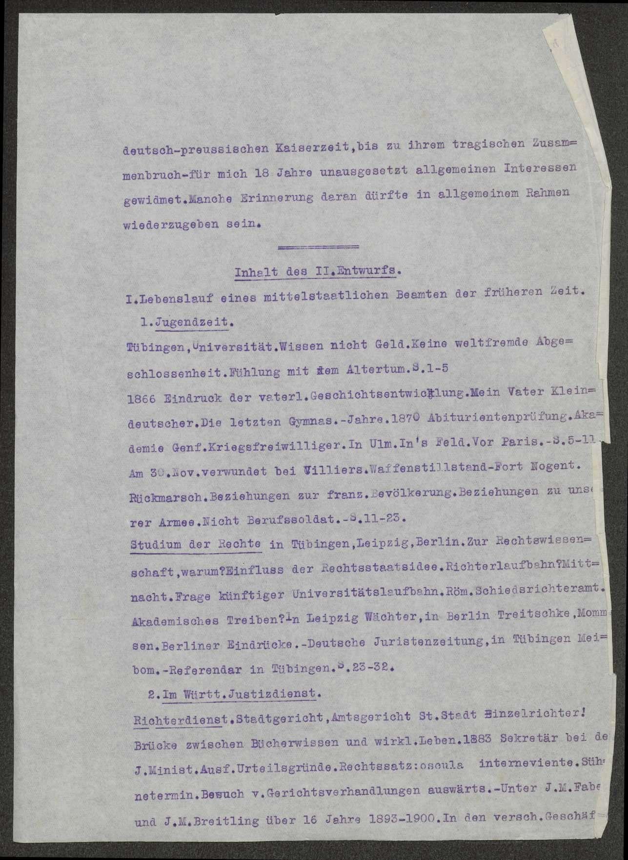 Lebenserinnerungen von Weizsäcker. Maschinenschriftliche Abschrift von Gustel Meibom. Weiterführung von Ernst v. Weizsäcker, 1926, Bild 3