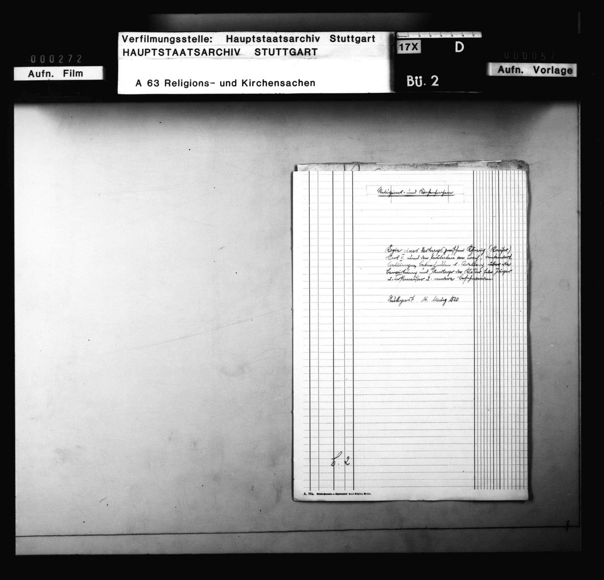 Kopie eines Vertrags zwischen König (Kaiser) Karl V. und den Prälaten von Lorch, Denkendorf, Nellingen, Bebenhausen und Adelberg, Bild 1