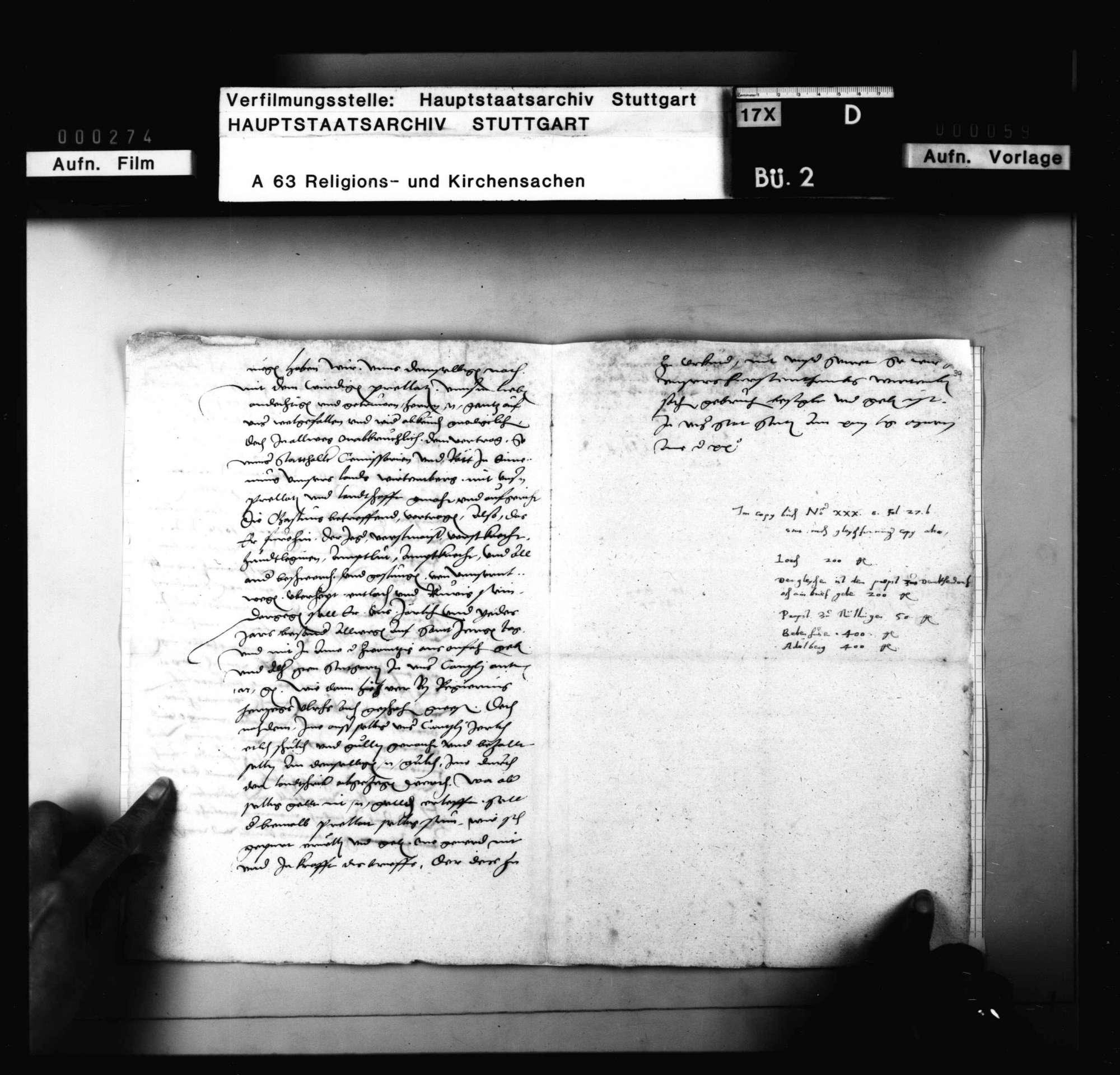 Kopie eines Vertrags zwischen König (Kaiser) Karl V. und den Prälaten von Lorch, Denkendorf, Nellingen, Bebenhausen und Adelberg, Bild 3