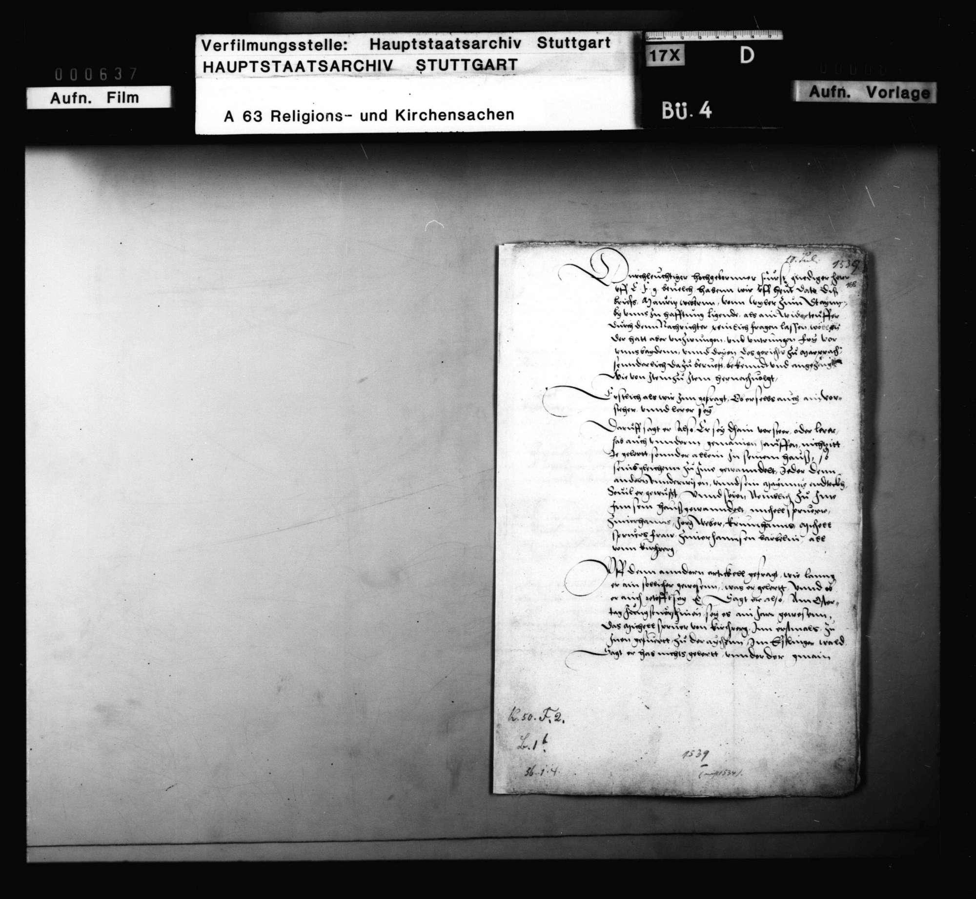 Bericht des Vogts zu Marbach, die Prozessierung eines Wiedertäufers betreffend, Bild 1