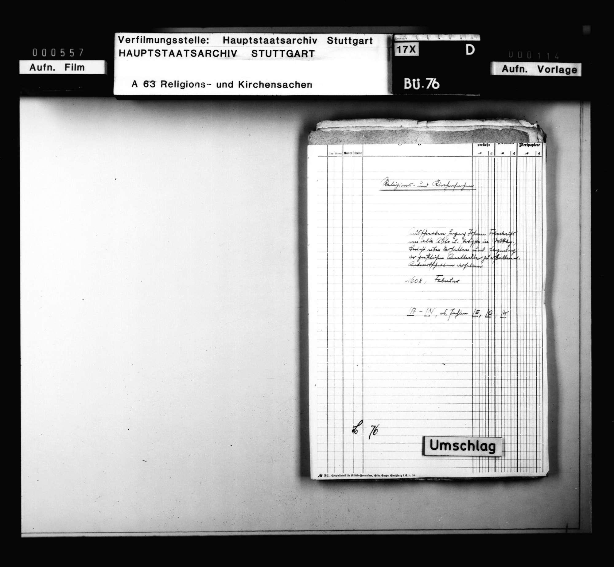 Ausschreiben Herzog Johann Friedrichs an alle Äbte und Pröpste in Württemberg, Bericht über Verhalten und Eignung der geistlichen Amtleute zu erstatten., Bild 1