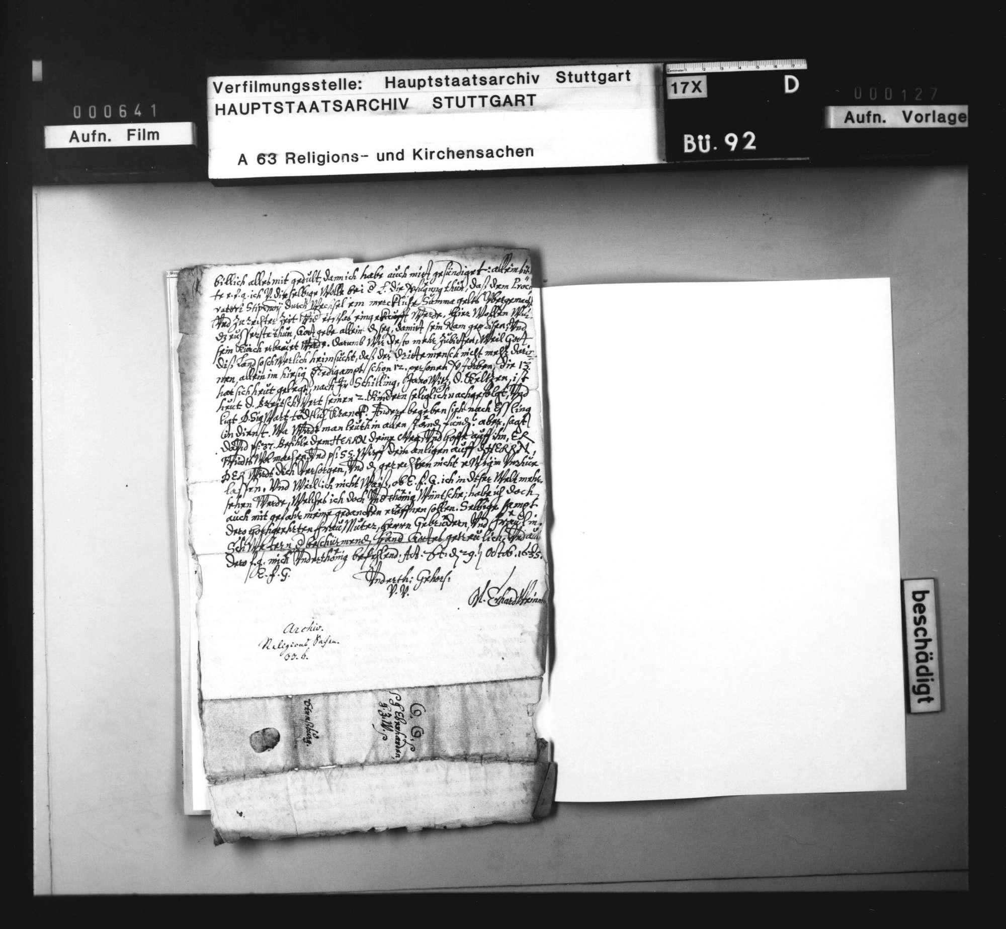 Schreiben des Konsistorialrats Erhard Weinmann an Herzog Eberhard III. von Württemberg in Straßburg über die kirchliche Not und den Mangel an Theologen., Bild 3