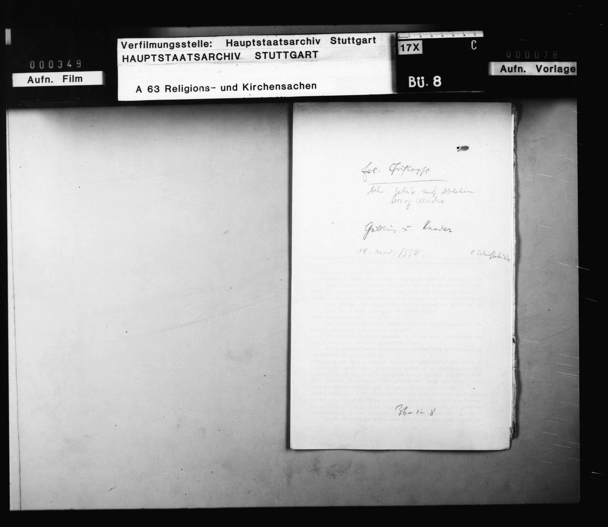 Reskript Herzog Christophs, betreffend die Anordnung eines Gebets auf das Ableben Herzog Ulrichs, und Befehl, sich auf der Kanzel hitziger Worte zu enthalten., Bild 1