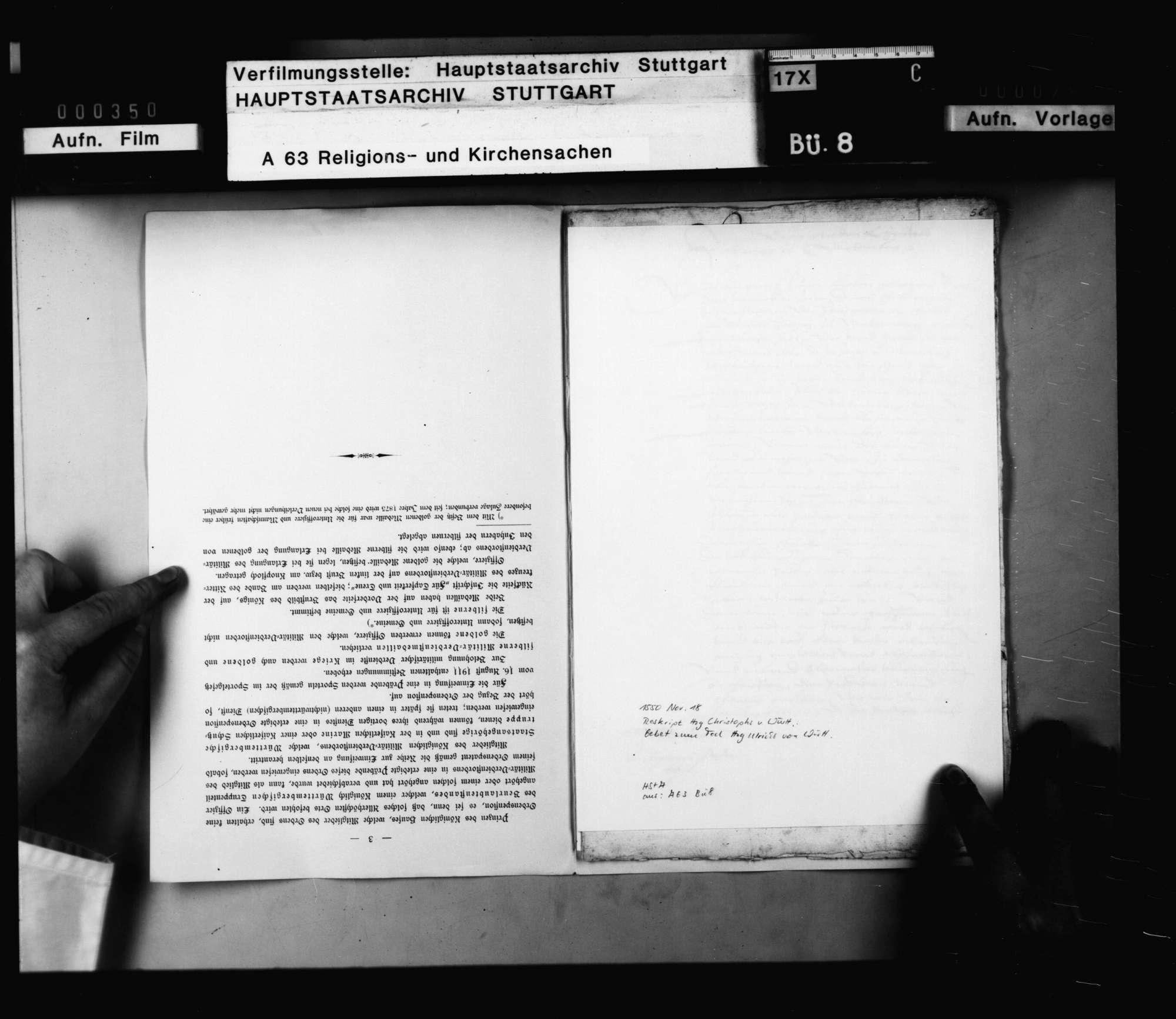 Reskript Herzog Christophs, betreffend die Anordnung eines Gebets auf das Ableben Herzog Ulrichs, und Befehl, sich auf der Kanzel hitziger Worte zu enthalten., Bild 2
