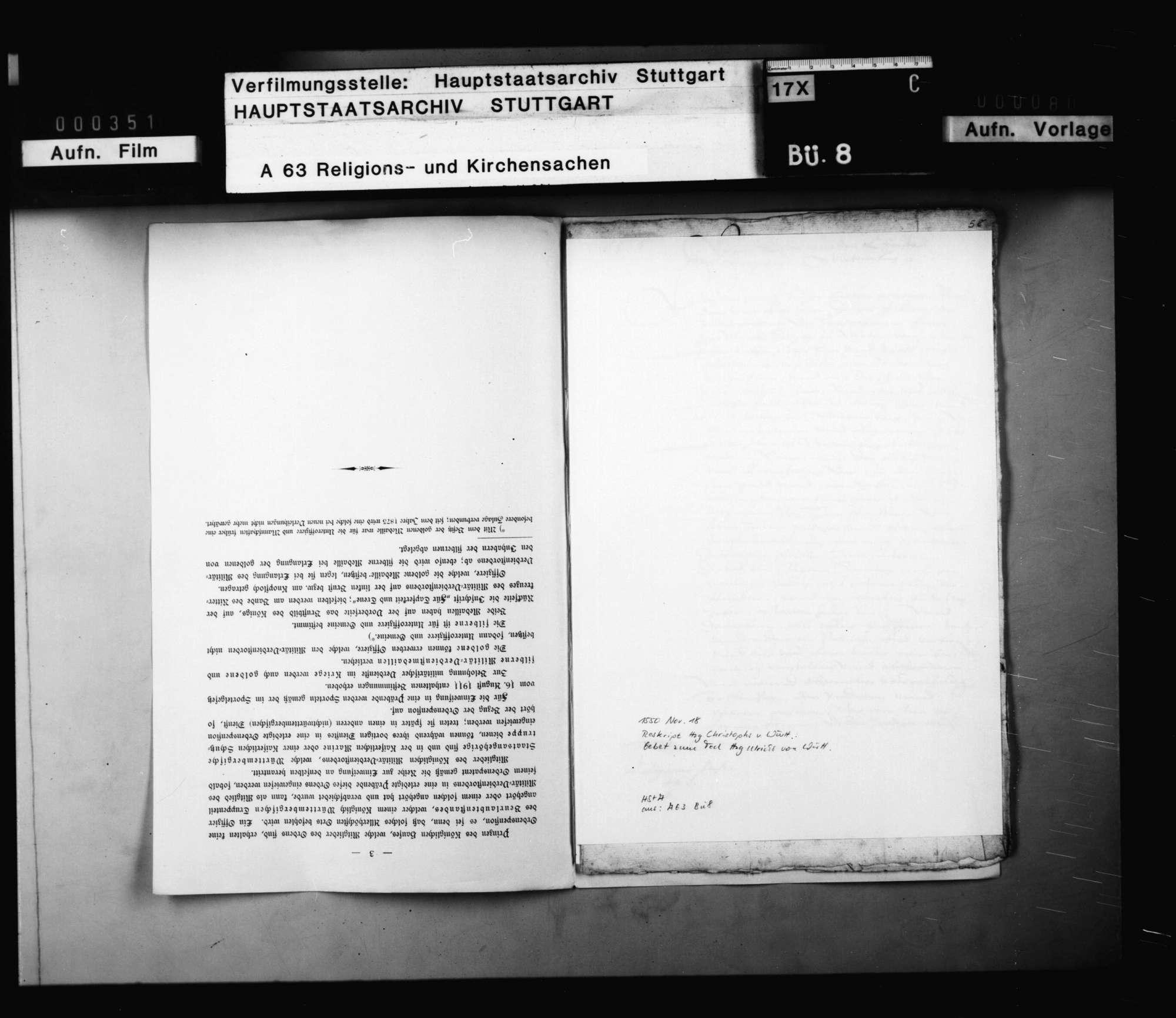 Reskript Herzog Christophs, betreffend die Anordnung eines Gebets auf das Ableben Herzog Ulrichs, und Befehl, sich auf der Kanzel hitziger Worte zu enthalten., Bild 3
