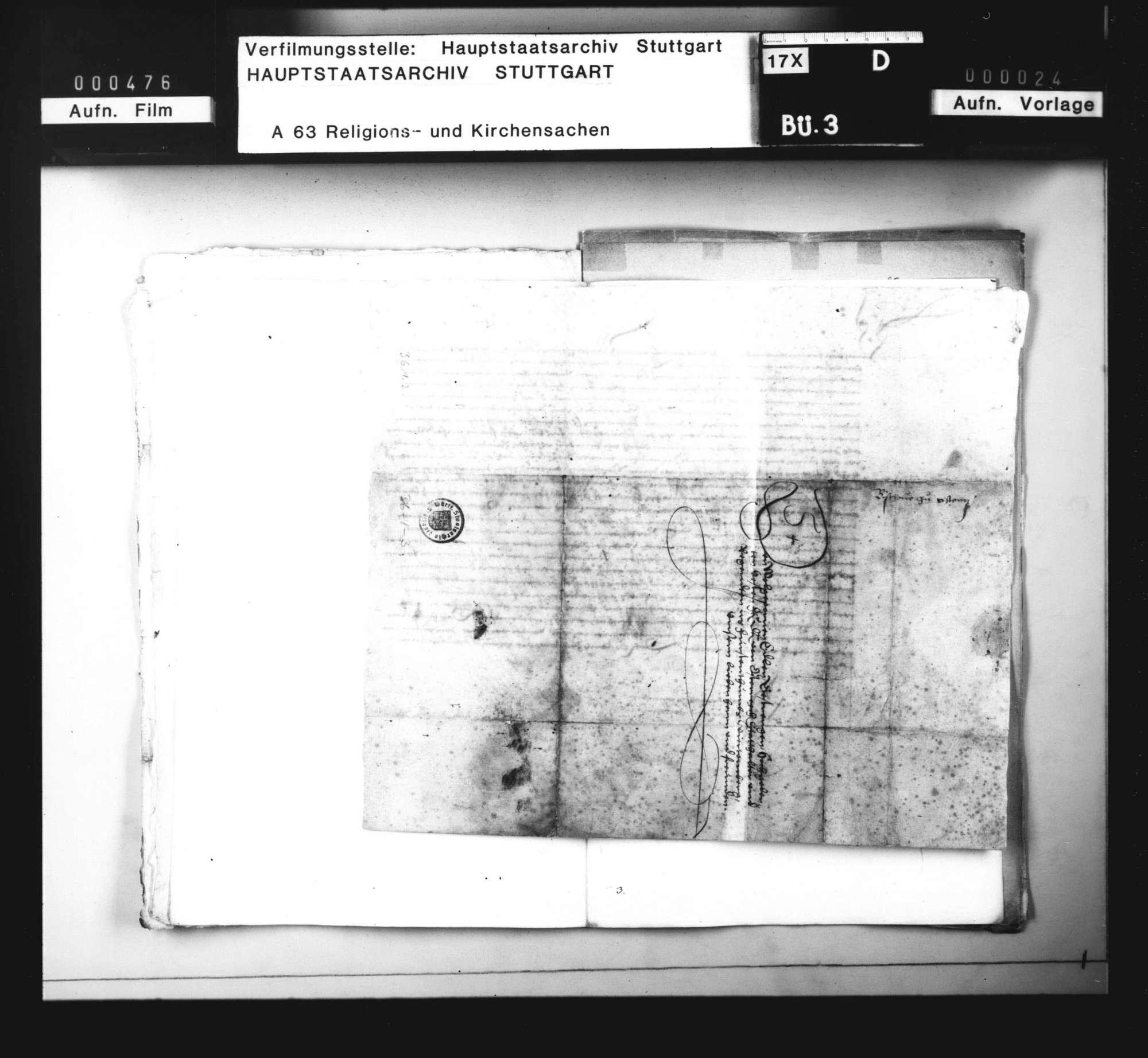 Schreiben des Bischofs von Konstanz an die österreichische Regentschaft, die Unterdrückung der lutherischen Lehre in Württemberg betreffend, besonders zu Köngen, Bild 3