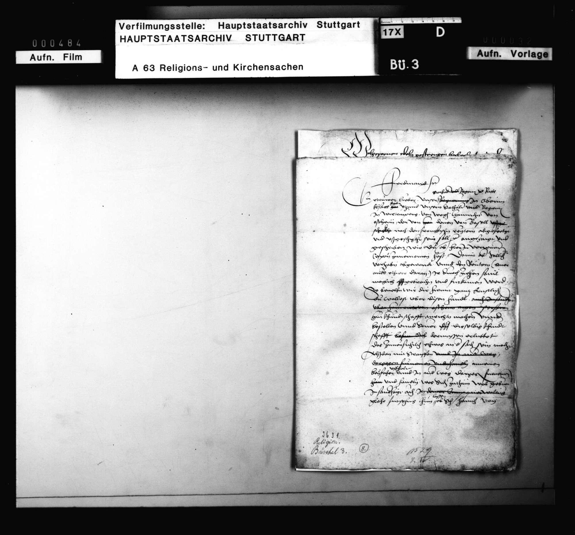 Schreiben des kaiserlichen Statthalters im Oberelsaß an den Statthalter in Württemberg, Bild 1