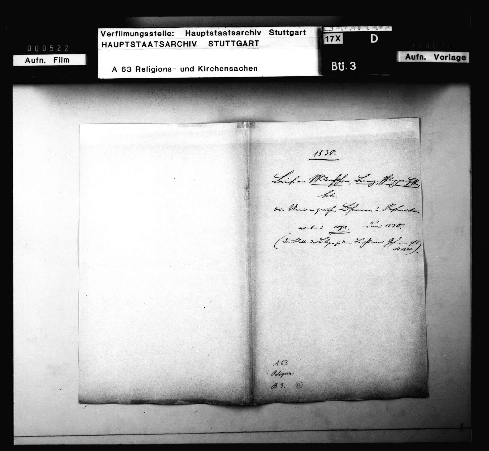 Briefwechsel zwischen Melanchthon, Brenz, Philipp von Hessen, betreffend die Union von Lutheranern und Reformierten, Bild 1