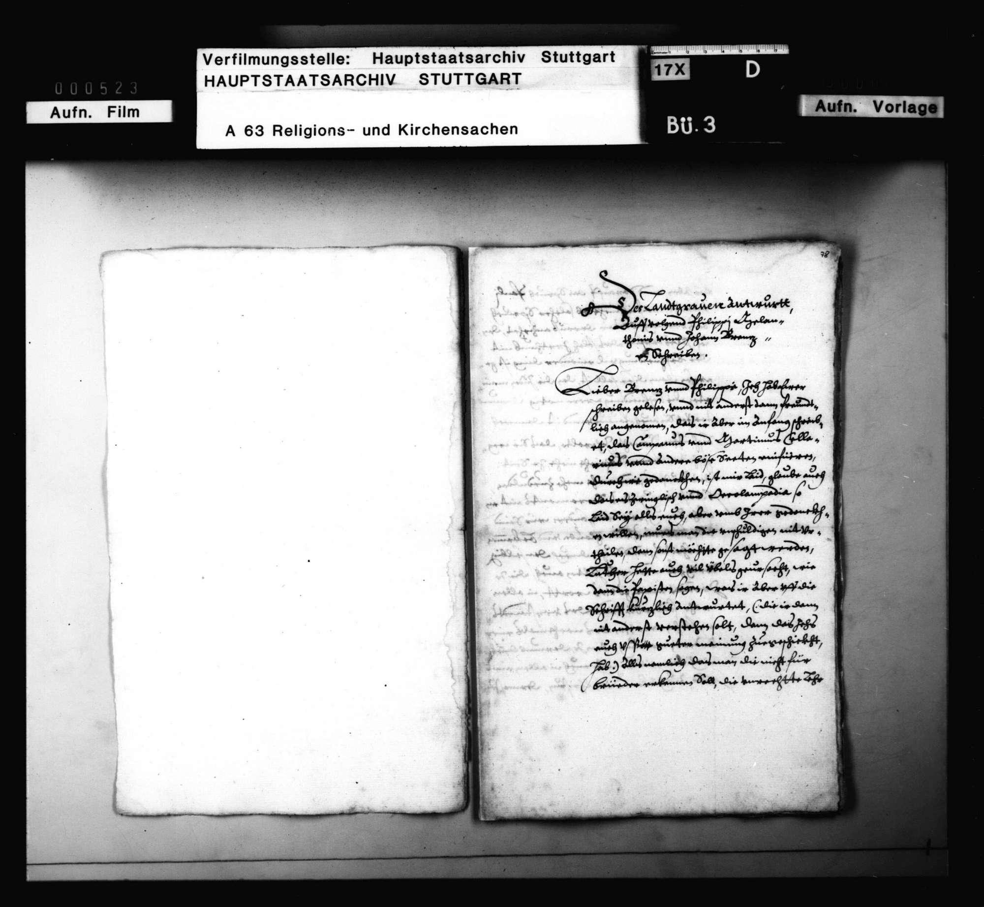 Briefwechsel zwischen Melanchthon, Brenz, Philipp von Hessen, betreffend die Union von Lutheranern und Reformierten, Bild 2