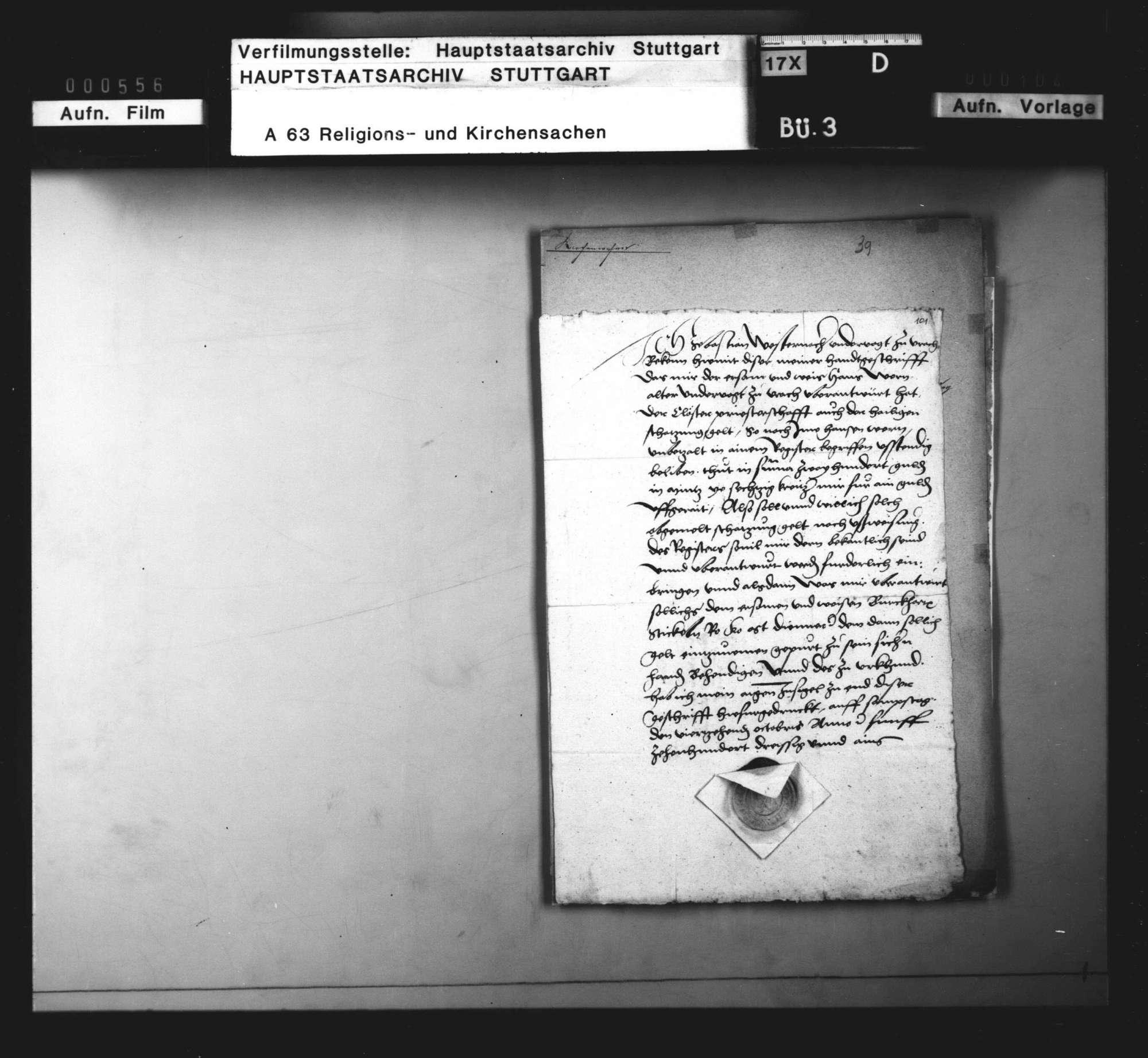 Revers des Untervogts zu Urach, Sebastian Westernach, über 200 Gulden Schatzungsgeld der Klöster und Priesterschaft, Bild 1