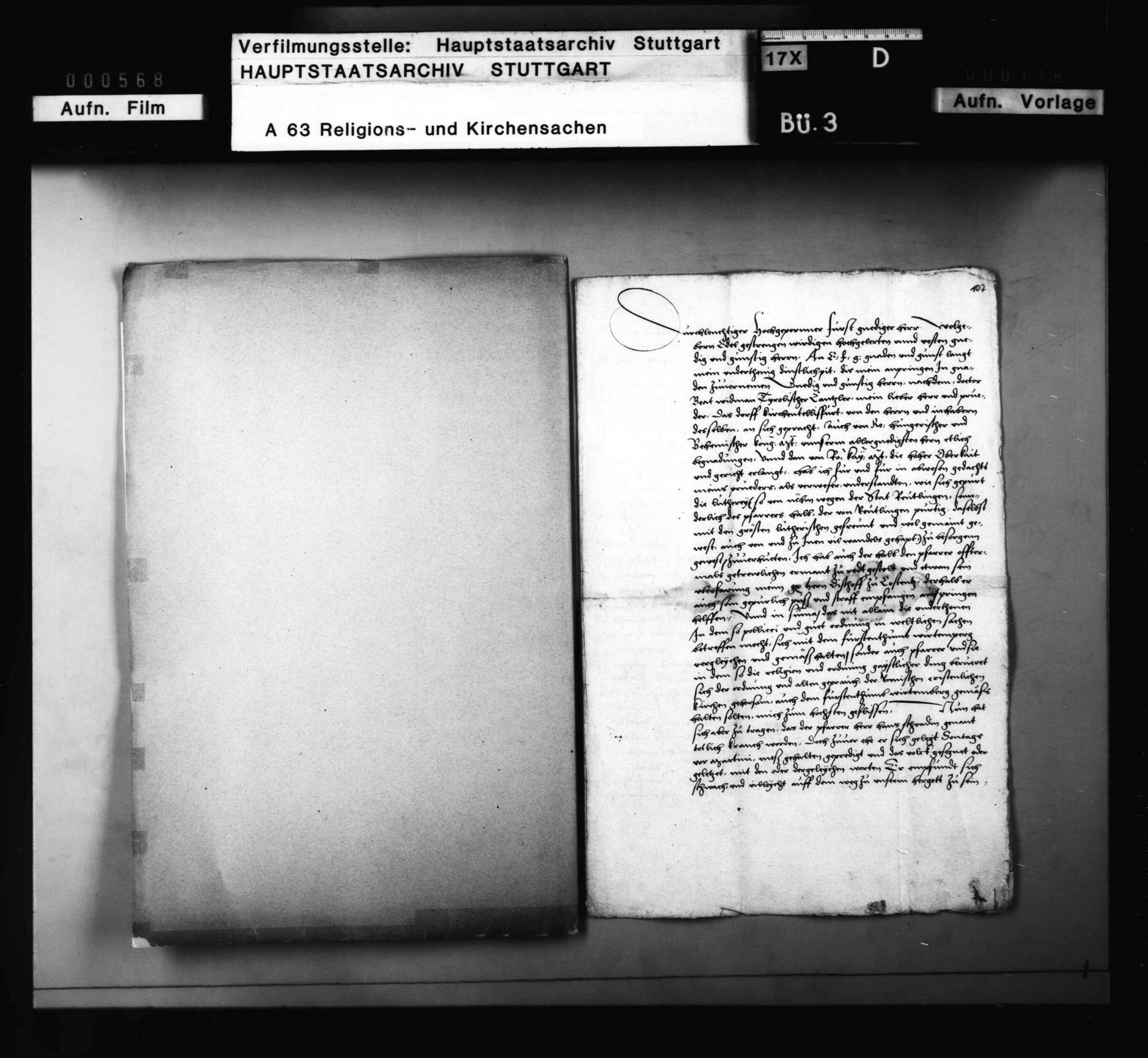 Anfrage des Propsts zu Tübingen mit Antwort, ob er den verstorbenen Pfarrer zu Kirchentellinsfurt, weil er der Religion halber verdächtig, in das geweihte Erdreich begraben solle, Bild 1