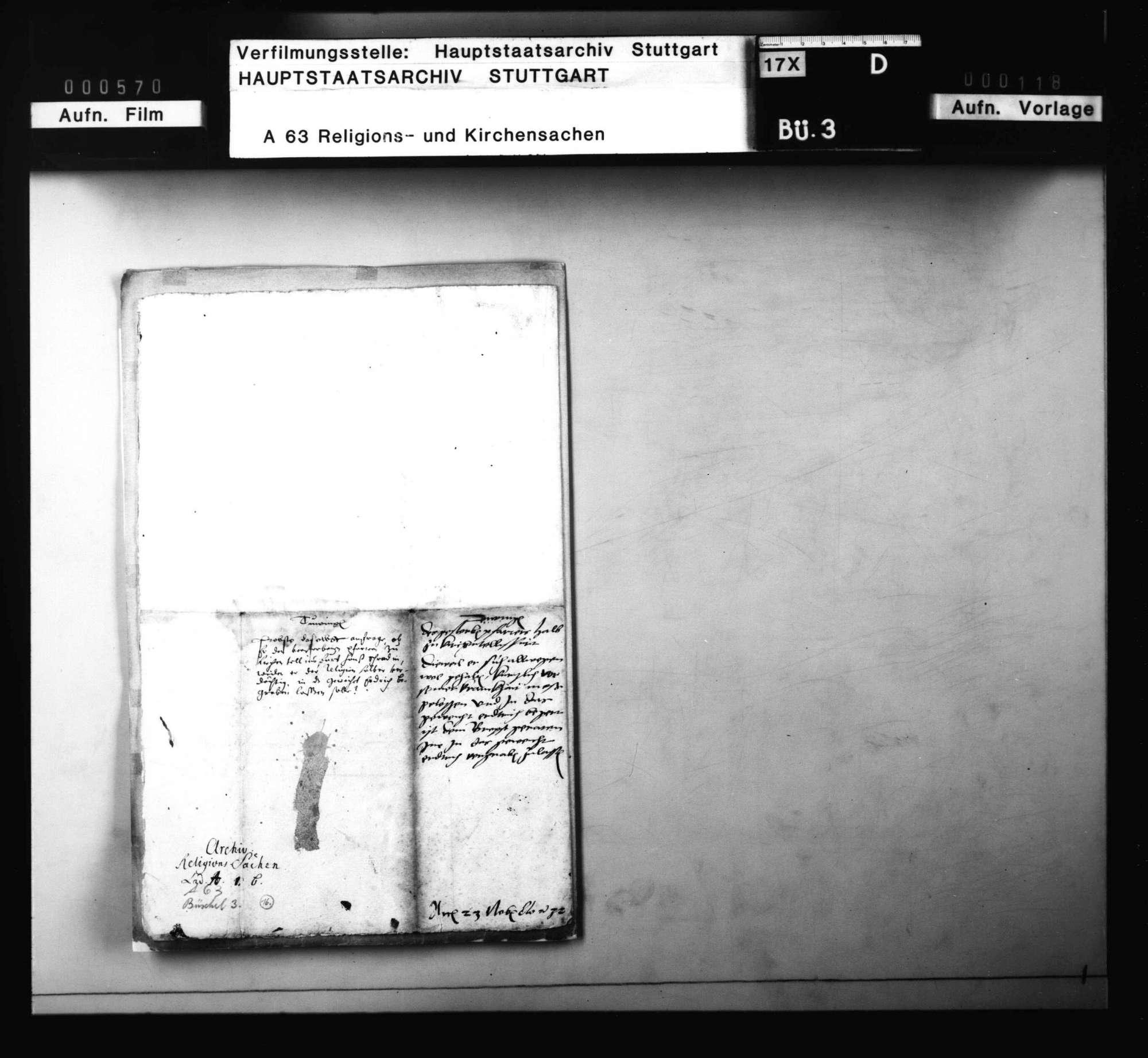 Anfrage des Propsts zu Tübingen mit Antwort, ob er den verstorbenen Pfarrer zu Kirchentellinsfurt, weil er der Religion halber verdächtig, in das geweihte Erdreich begraben solle, Bild 3