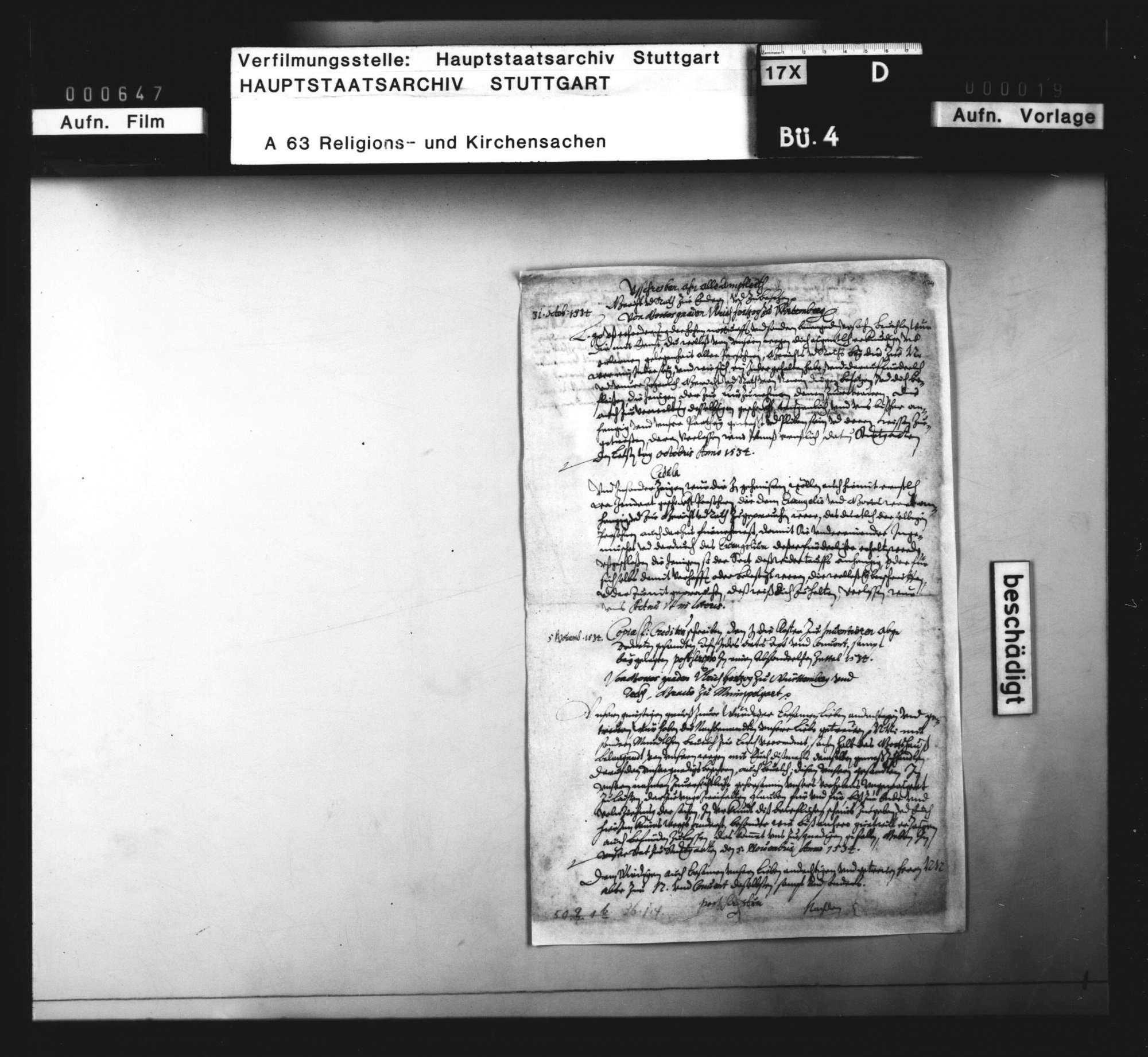 Landesweite (reformatorische) Regelungen Herzog Ulrichs zu Beginn seiner zweiten Regierungsperiode, Bild 2