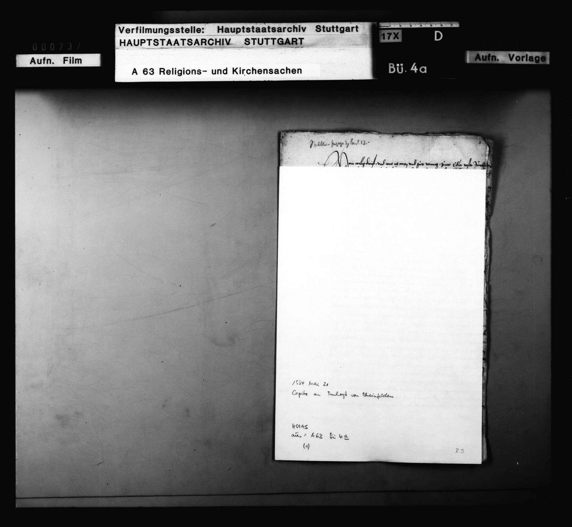 Brief Capitos mit Empfehlung zugunsten des Gregorius und Blarers sowie mit Bedenken gegen Schwenkfeld, Bild 1