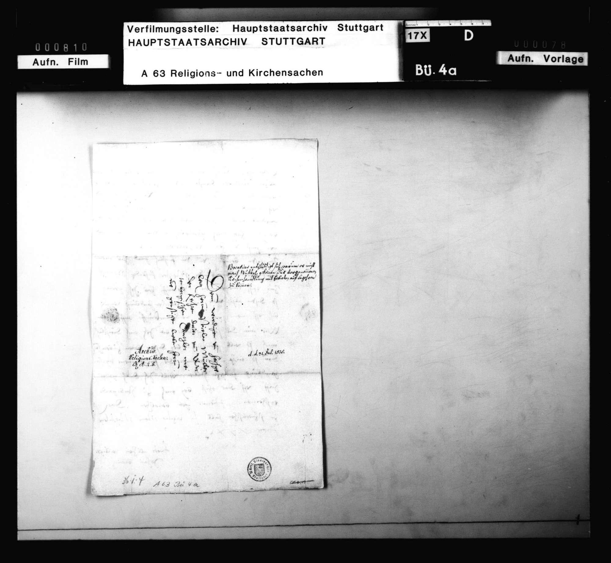 Brief von Brenz an D. Müller, sein Erscheinen bei der Kirchenhandlung in Stuttgart betreffend, Bild 3
