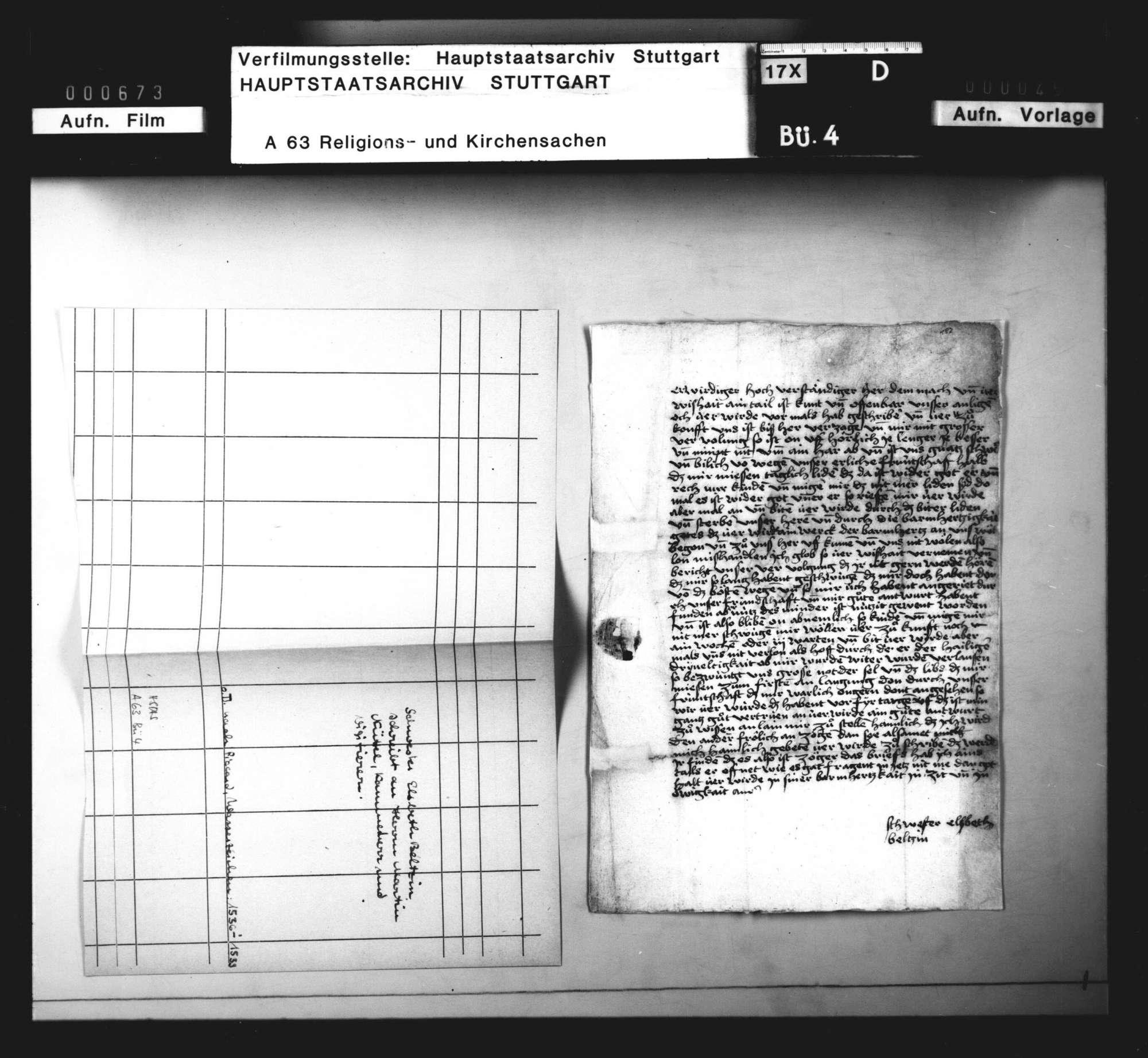 Schreiben der Priorin von Kloster Steinheim, Schwester Elisabeth Beltzin, an Martin Nittel wegen ihrer Verfolgung, Bild 2