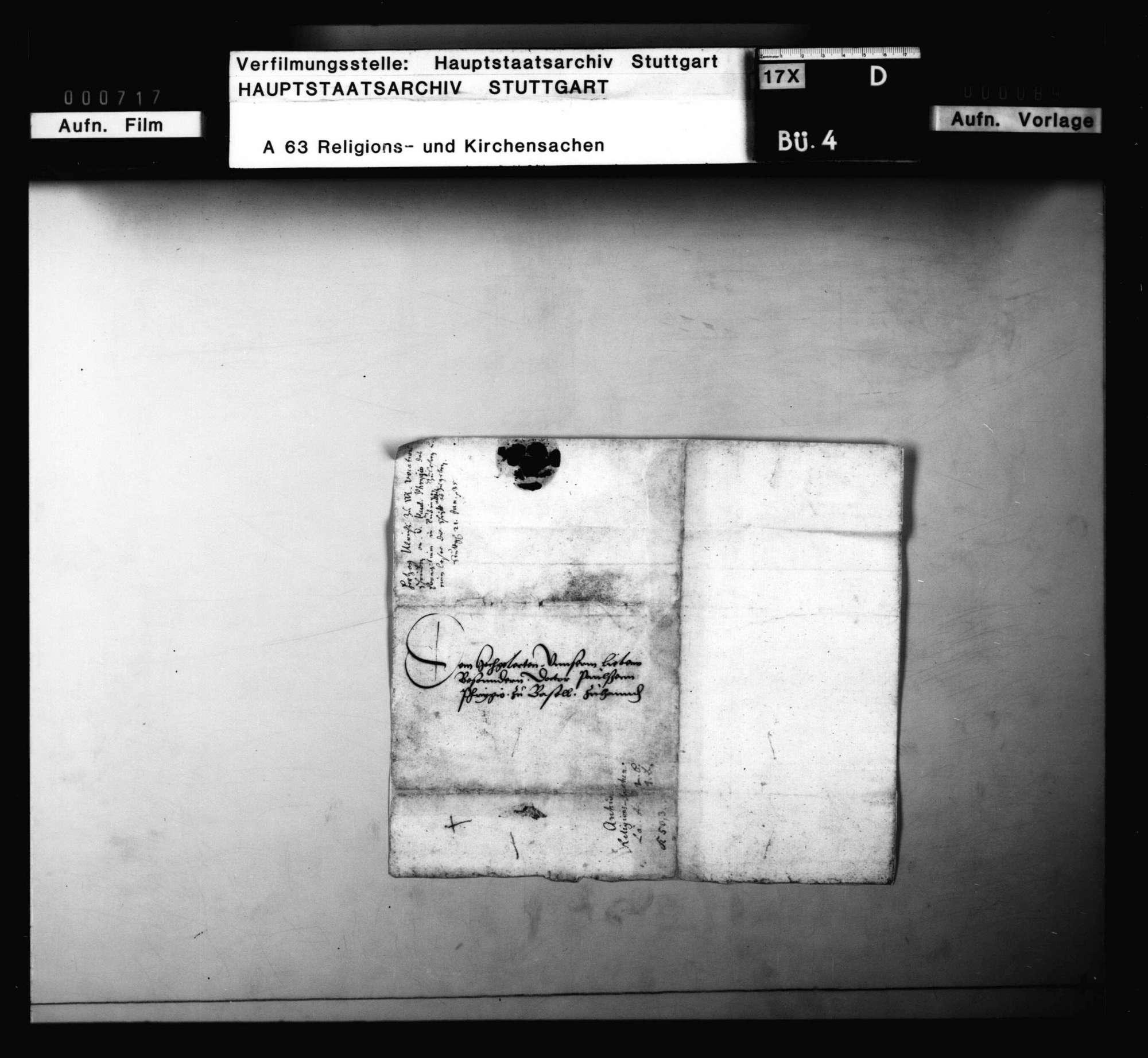 Schreiben des Pfarrers Johann Wagner in Balingen an M. Heinrich Bullinger in Zürich., Bild 2