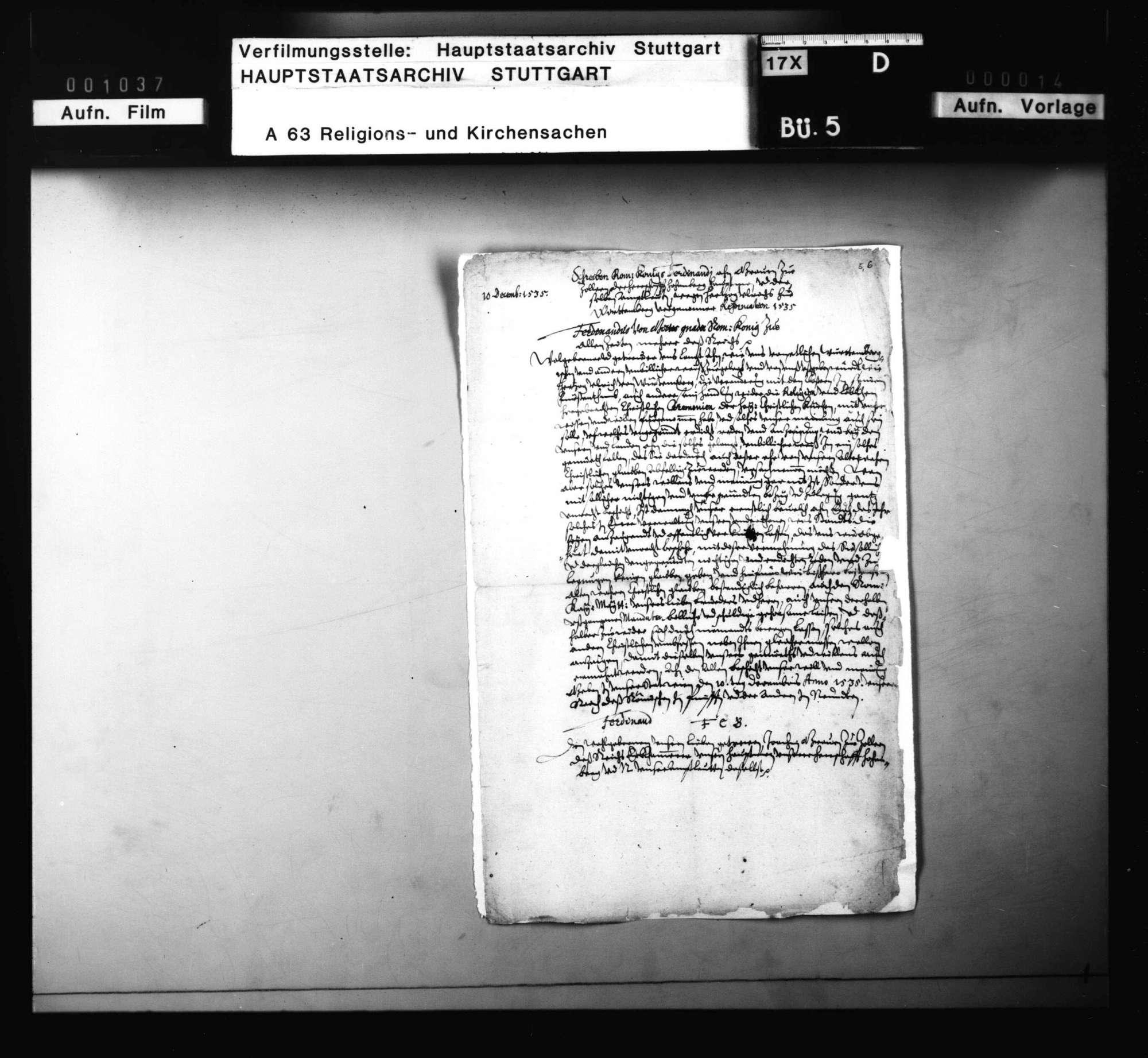 Reskript König Ferdinands an die Beamten der Herrschaft Hohenberg, worin das Gerücht, dass Herzog Ulrich die Reformation seines Lands mit des Königs Einwilligung vorgenommen, widerlegt wird., Bild 1