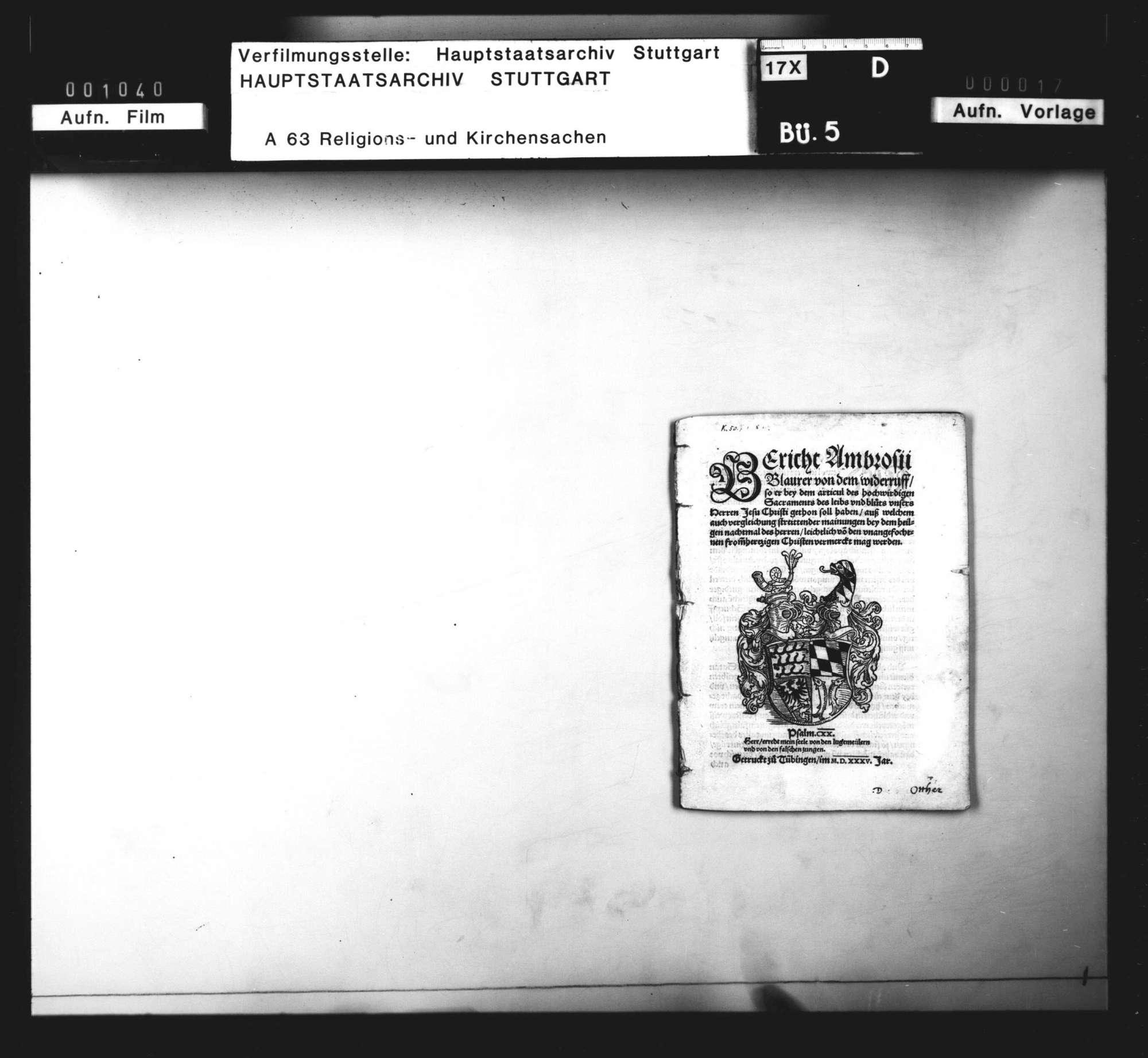 """Bericht Ambrosii Blarers von dem Widerruf, den er bei dem """"Artikul des Sakraments des Leibs und Bluts"""" getan soll haben., Bild 3"""