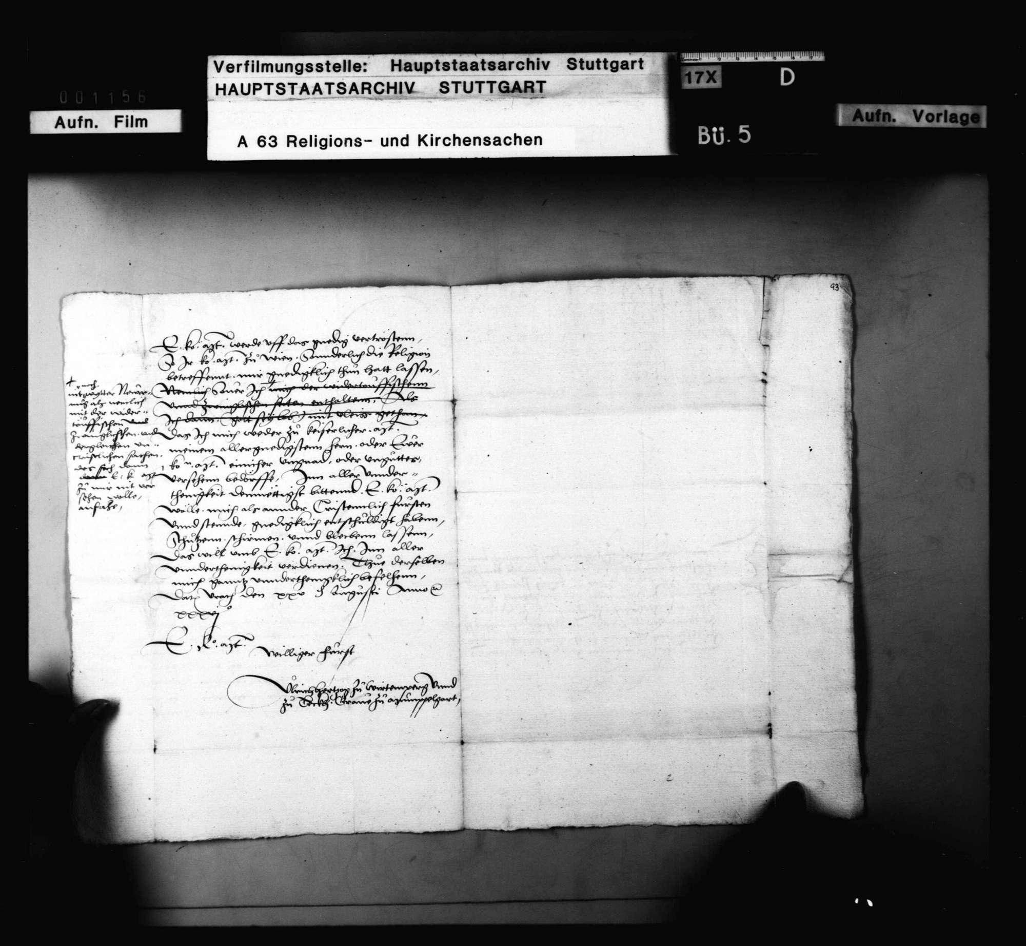 Herzog Ulrichs Schreiben an König Ferdinand, die Klöster Anhausen, Herbrechtingen und Königsbronn betreffend., Bild 3