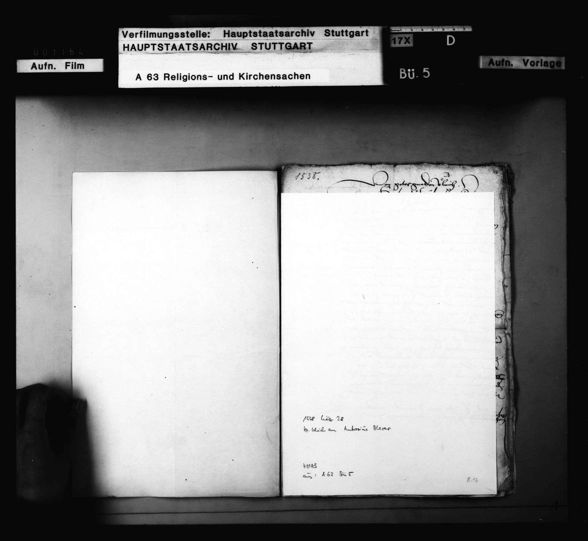 Dekret Herzog Ulrichs an Blarer und Schnepf, das Examen der Geistlichen betreffend. 28. März; nebst Reskript an die Amtleute in demselben Betreff., Bild 1