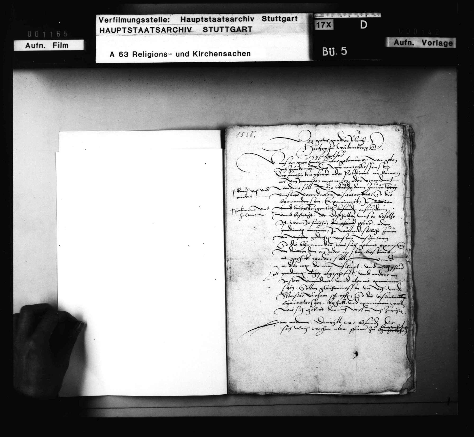 Dekret Herzog Ulrichs an Blarer und Schnepf, das Examen der Geistlichen betreffend. 28. März; nebst Reskript an die Amtleute in demselben Betreff., Bild 2
