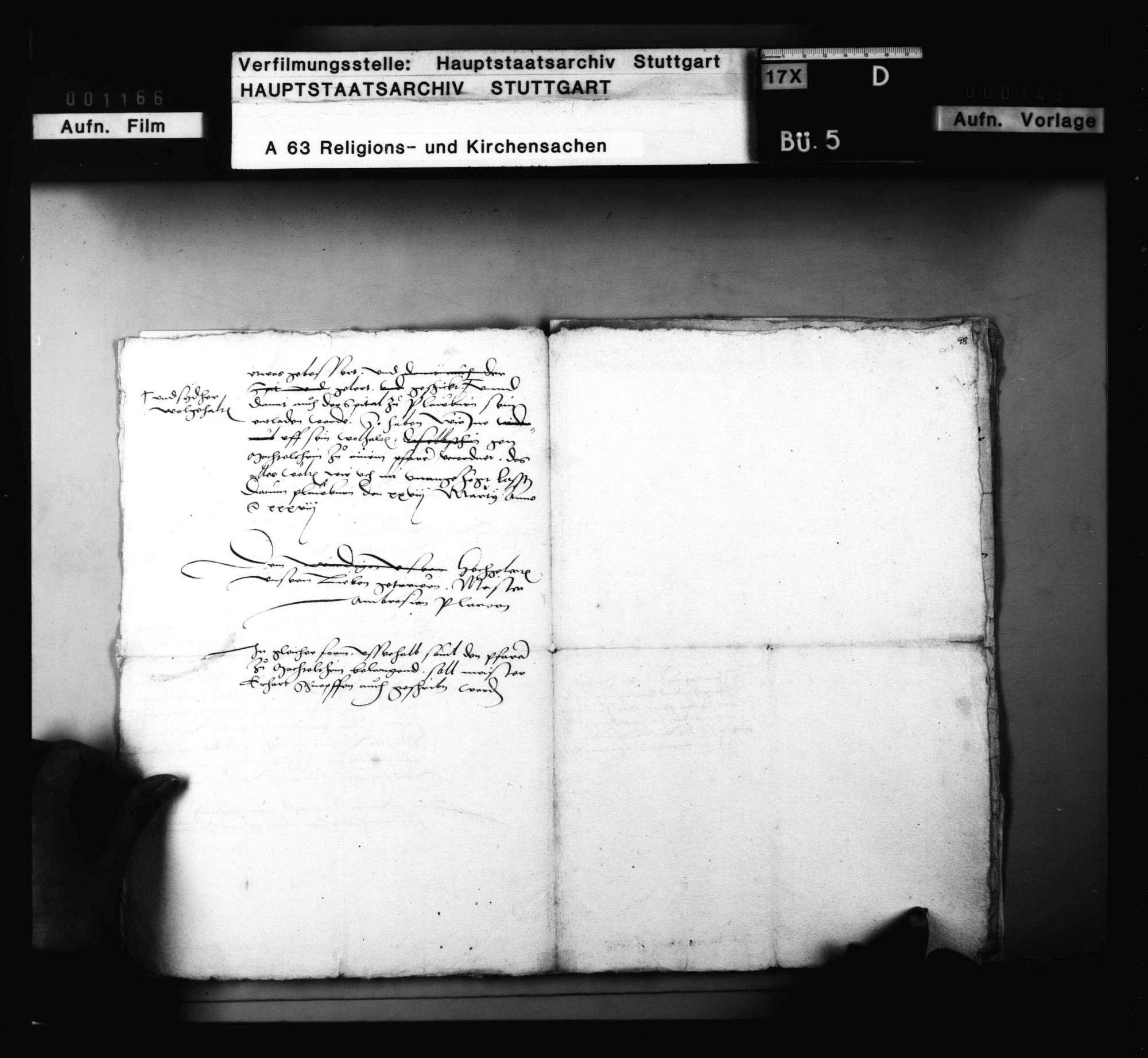 Dekret Herzog Ulrichs an Blarer und Schnepf, das Examen der Geistlichen betreffend. 28. März; nebst Reskript an die Amtleute in demselben Betreff., Bild 3