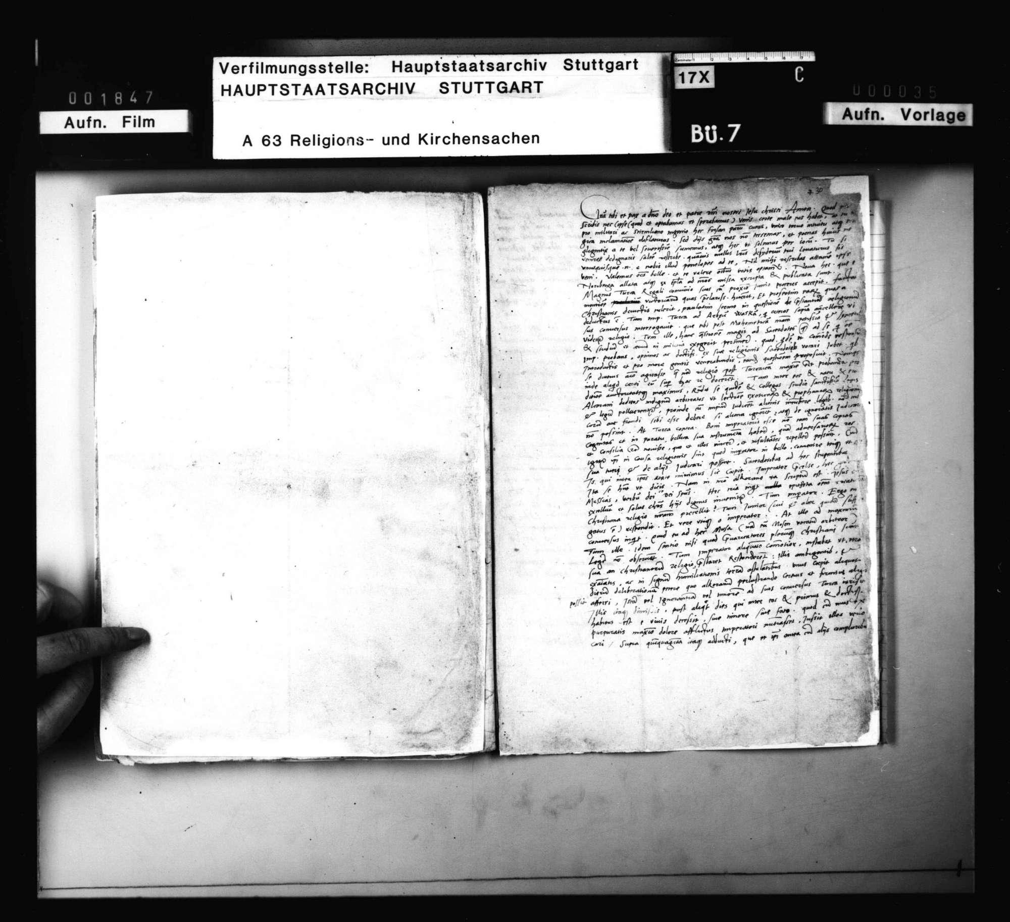 Schreiben des M. Alber und Johann Schradinus, betreffend Zeitungen über das Aufkommen des Christentums in der Türkei., Bild 1