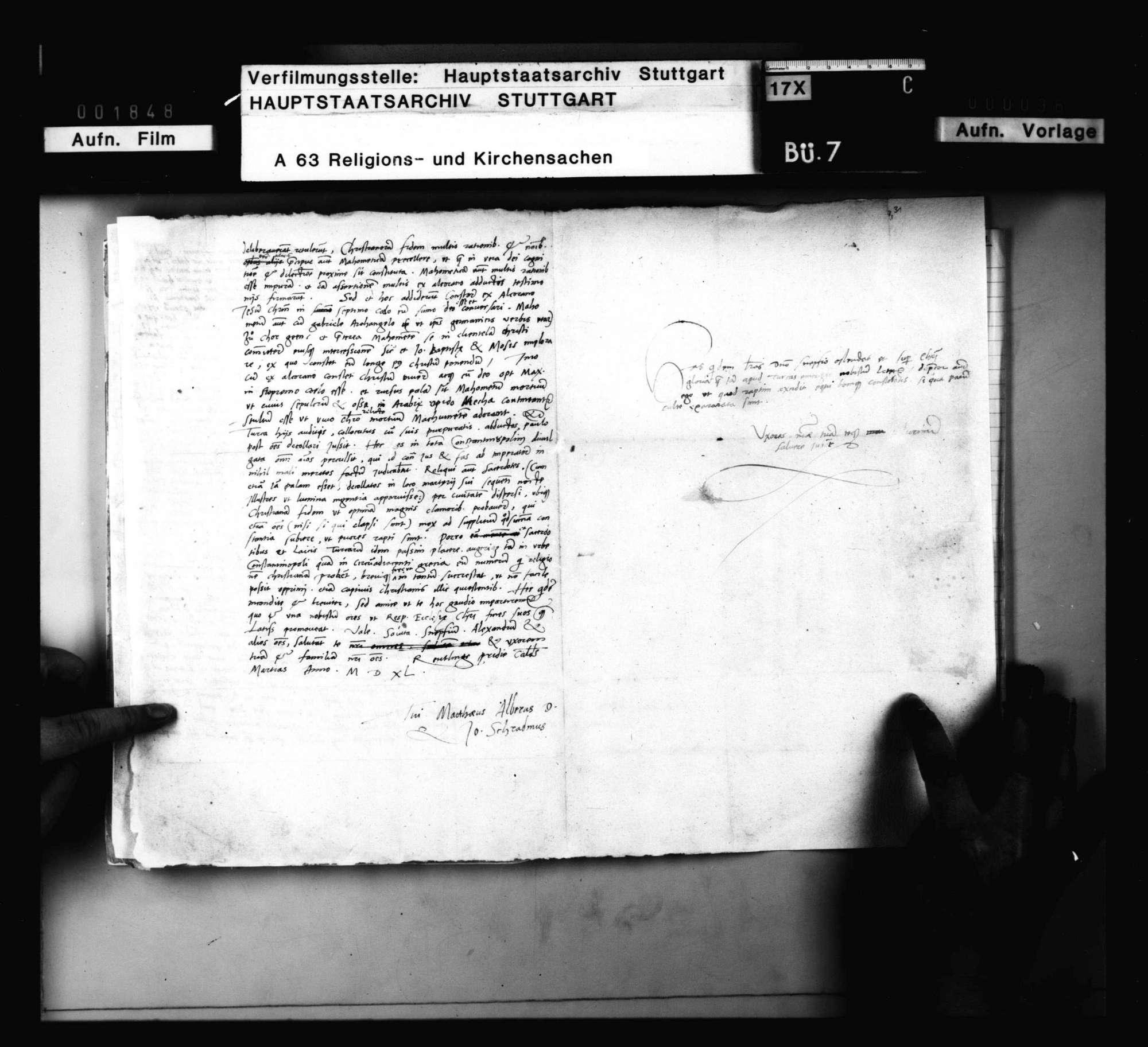Schreiben des M. Alber und Johann Schradinus, betreffend Zeitungen über das Aufkommen des Christentums in der Türkei., Bild 2