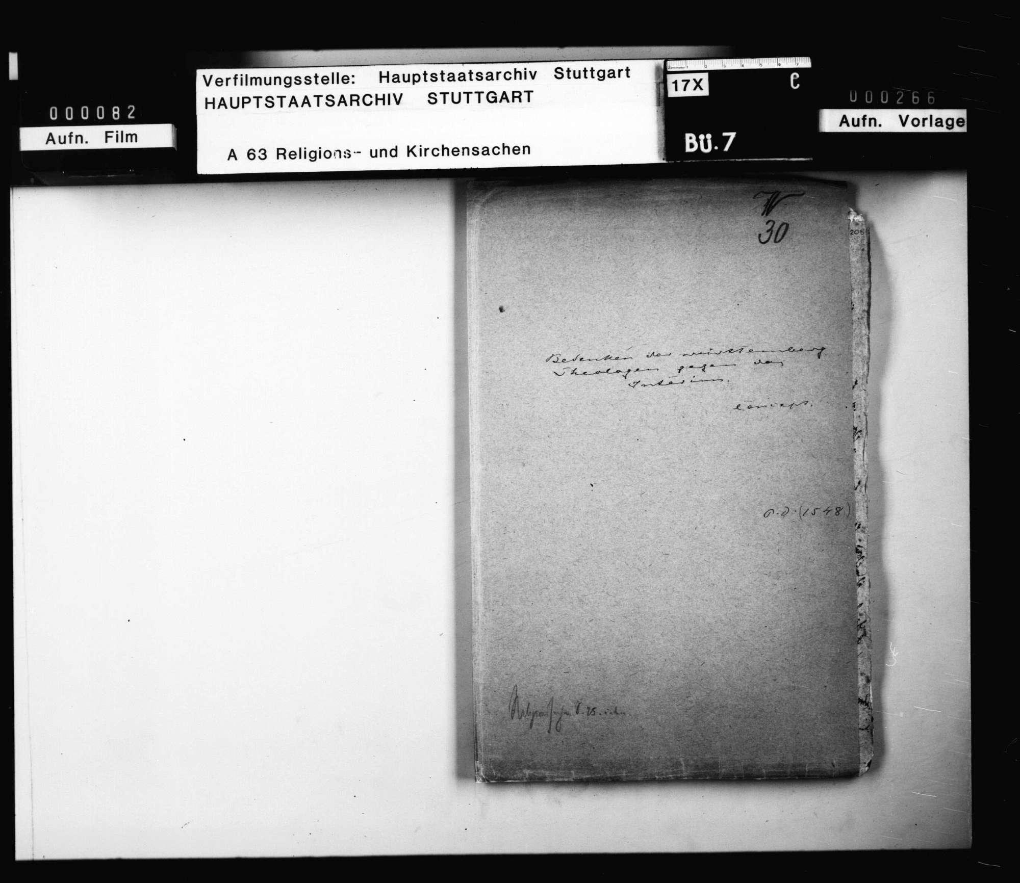 Aktenumschlag mit Angaben zu verlorengegangenen Schriftstücken zum Thema Interim, dessen Vorbereitung, Anhang und Fortgang in Württemberg., Bild 1