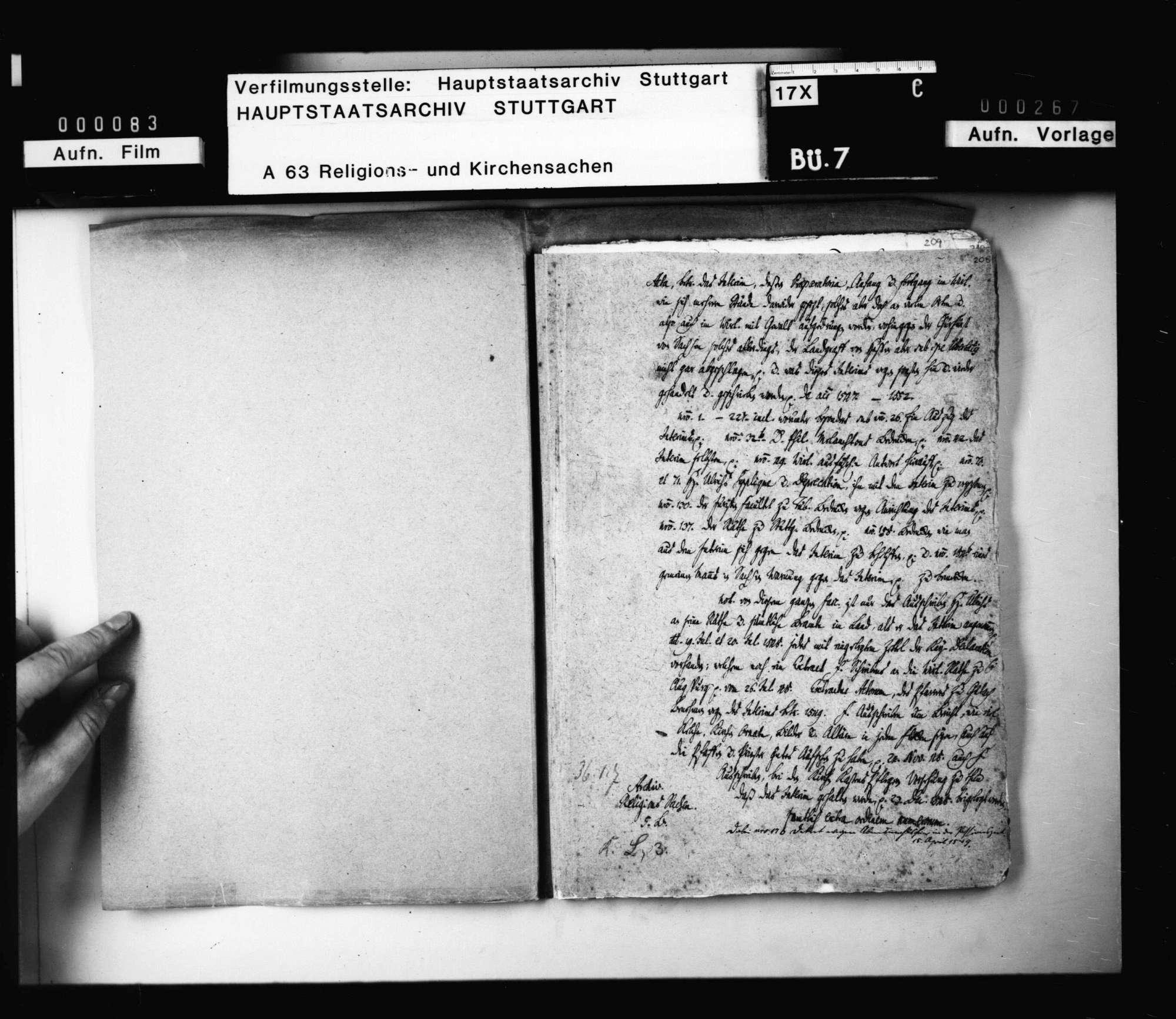 Aktenumschlag mit Angaben zu verlorengegangenen Schriftstücken zum Thema Interim, dessen Vorbereitung, Anhang und Fortgang in Württemberg., Bild 2