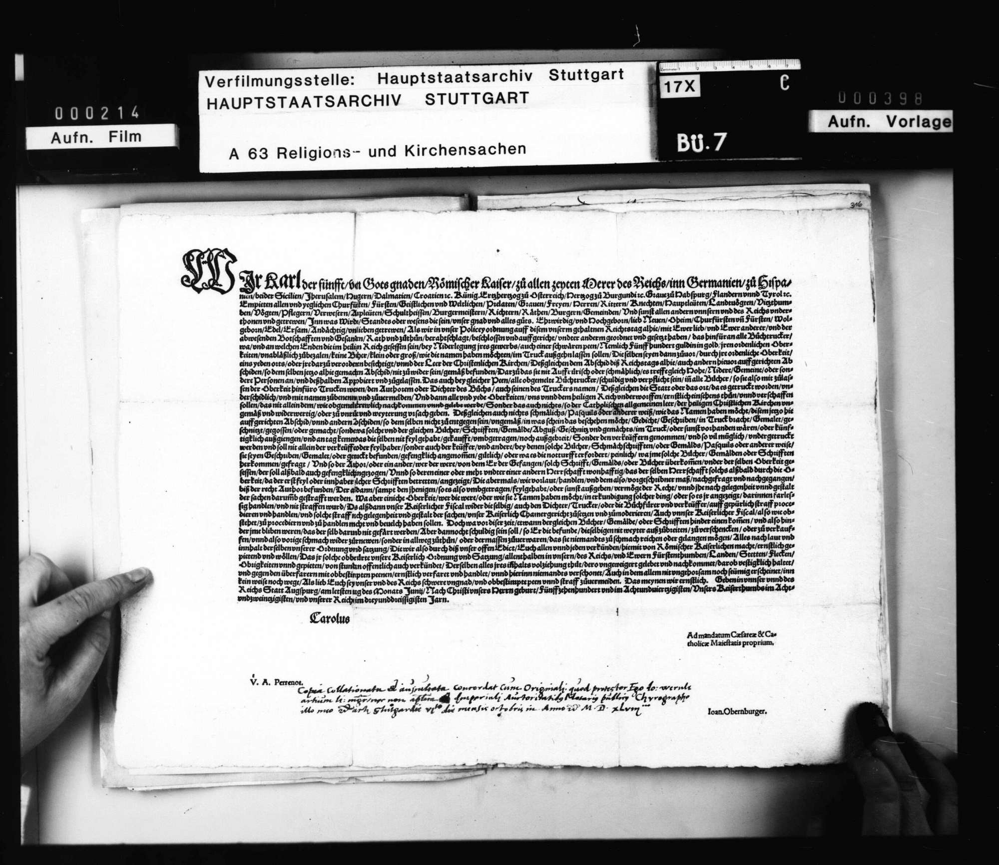 Akten, betreffend das kaiserliche Mandat vom 30. Juni 1548 wegen des Bücherdrucks und dessen Publizierung und Umsetzung in Württemberg., Bild 2