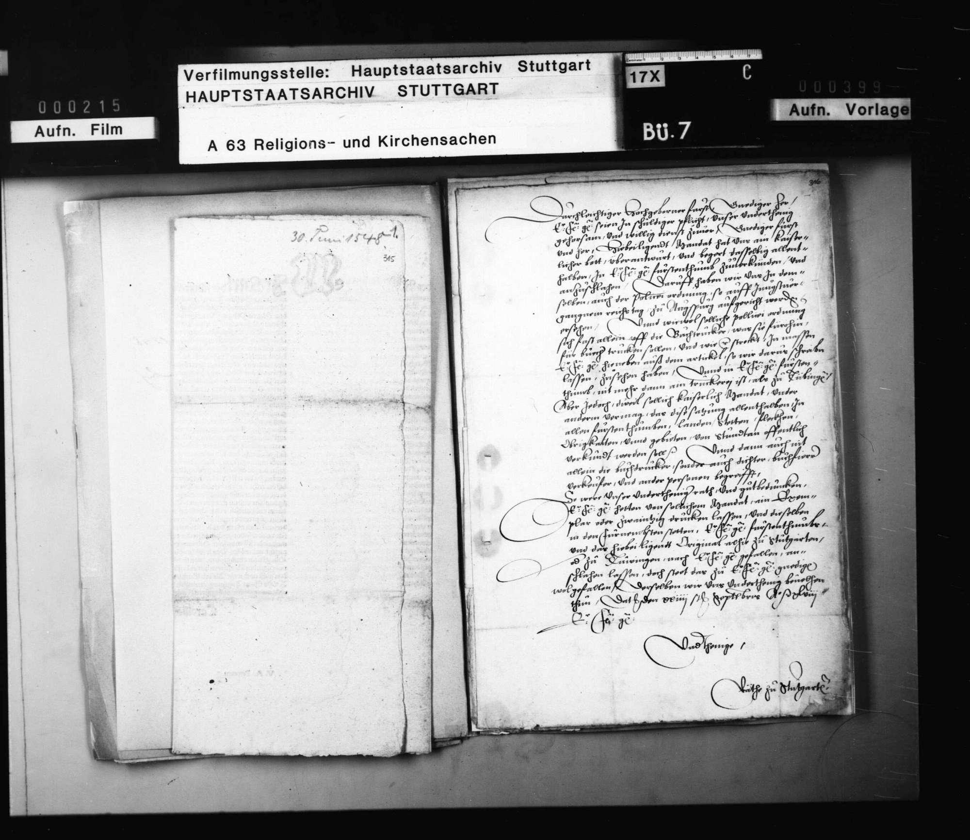 Akten, betreffend das kaiserliche Mandat vom 30. Juni 1548 wegen des Bücherdrucks und dessen Publizierung und Umsetzung in Württemberg., Bild 3