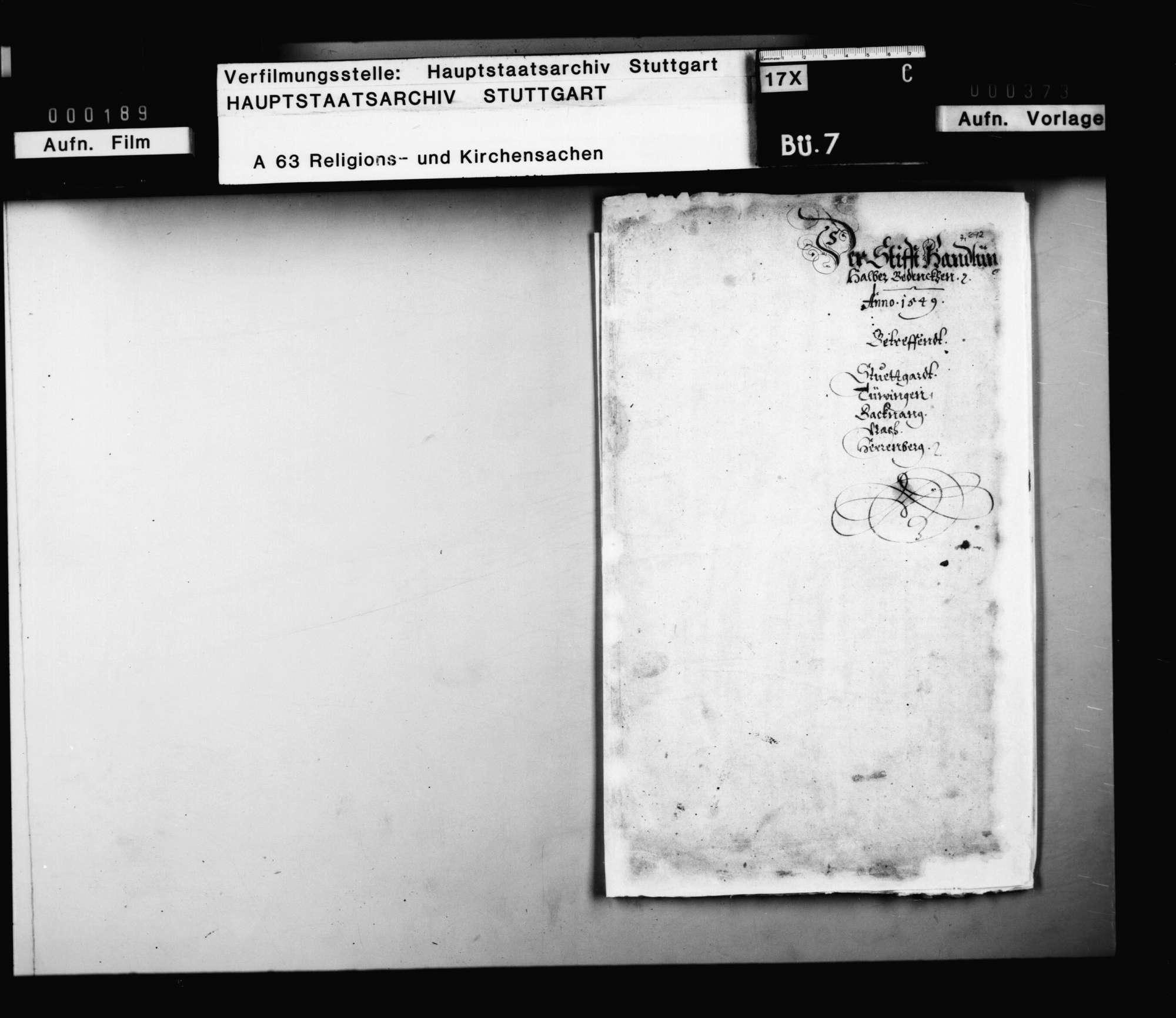 Bericht der Visitationskommission über die Situation der Stifte Stuttgart, Tübingen, Backnang, Urach, Herrenberg (nach Titelblatt des Berichts)., Bild 1