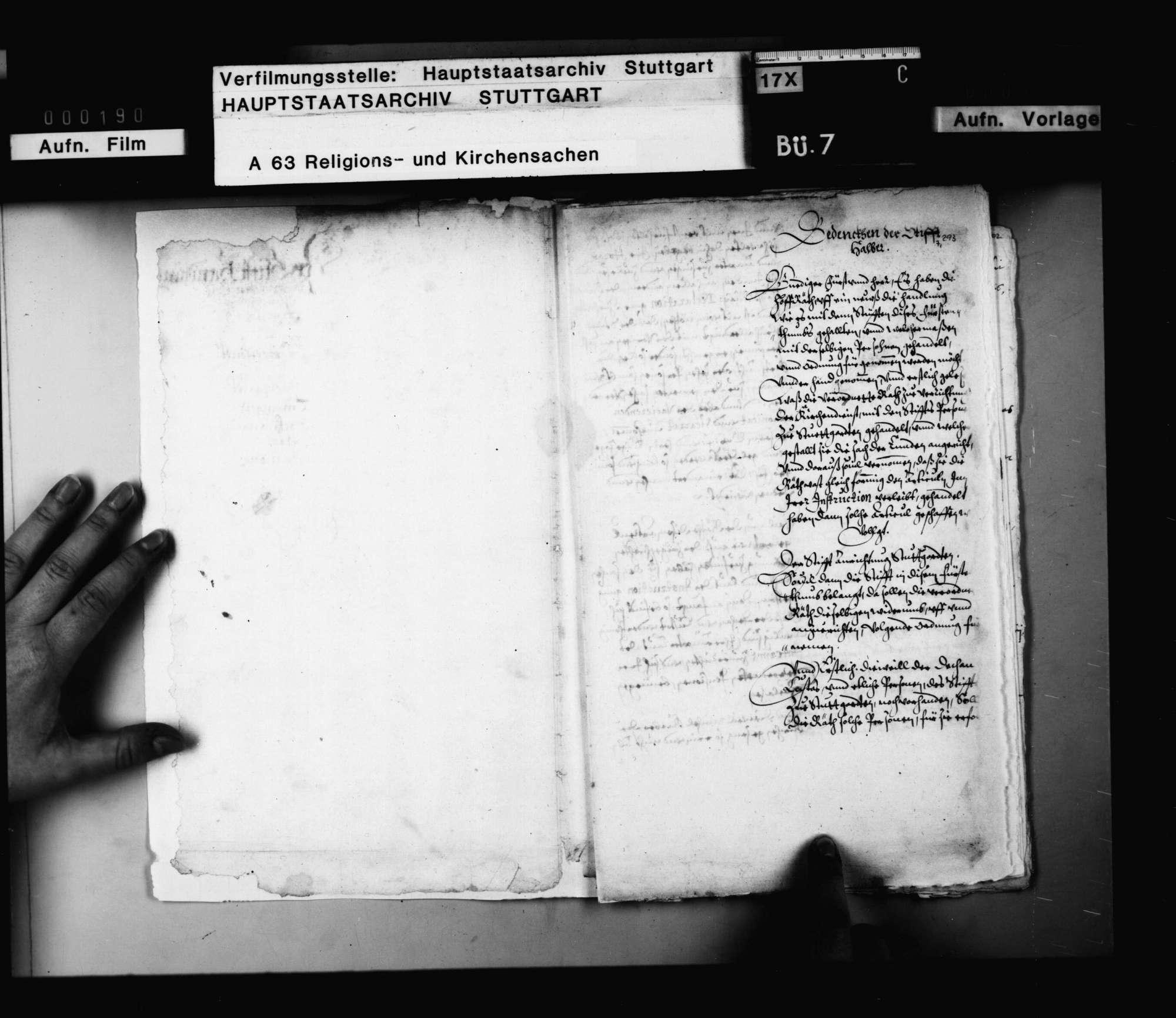 Bericht der Visitationskommission über die Situation der Stifte Stuttgart, Tübingen, Backnang, Urach, Herrenberg (nach Titelblatt des Berichts)., Bild 2