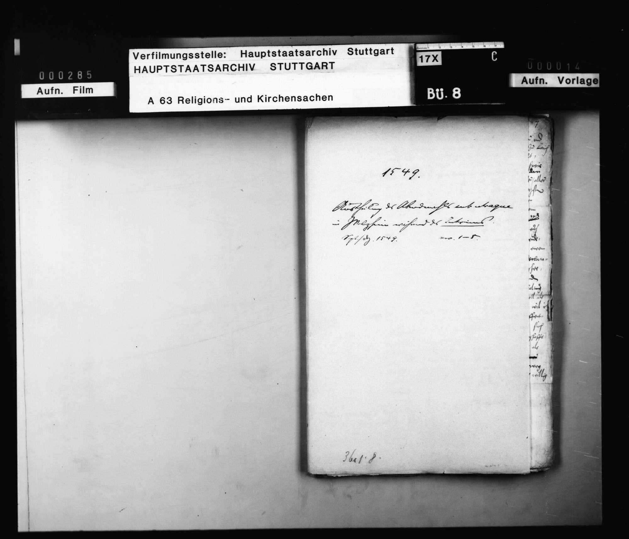 Schriften, betreffend die Austeilung des Abendmahls sub utraque forma in Welzheim während des Interims., Bild 1