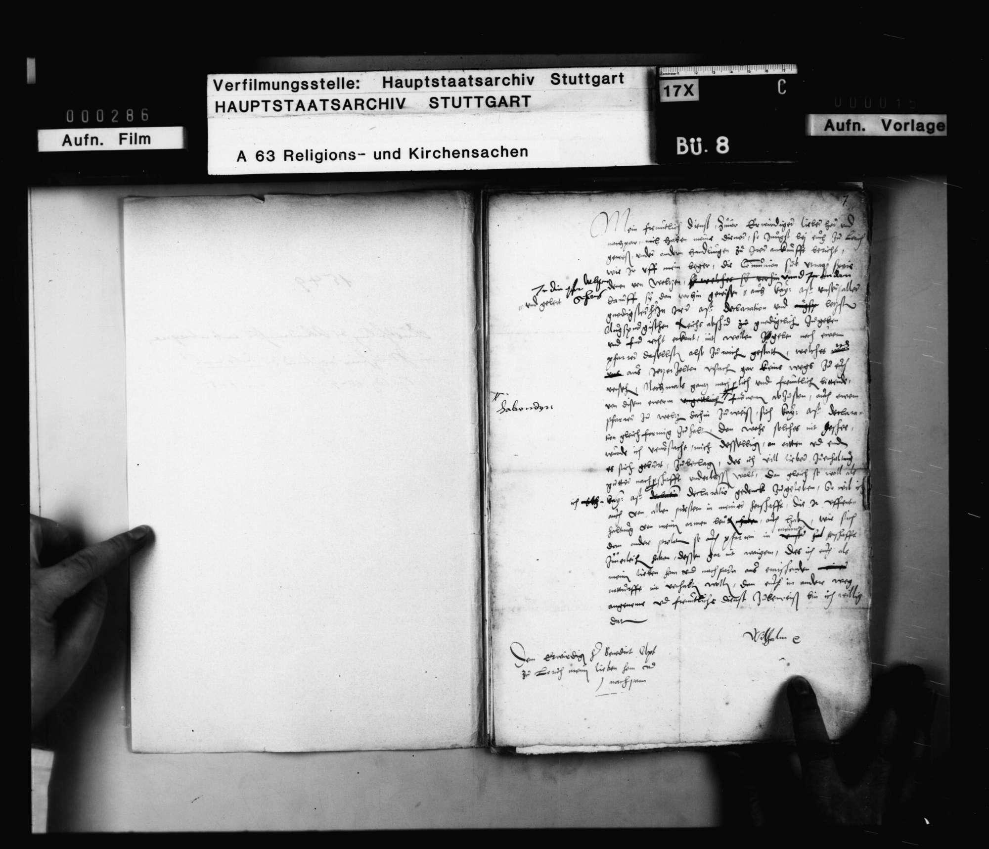 Schriften, betreffend die Austeilung des Abendmahls sub utraque forma in Welzheim während des Interims., Bild 2