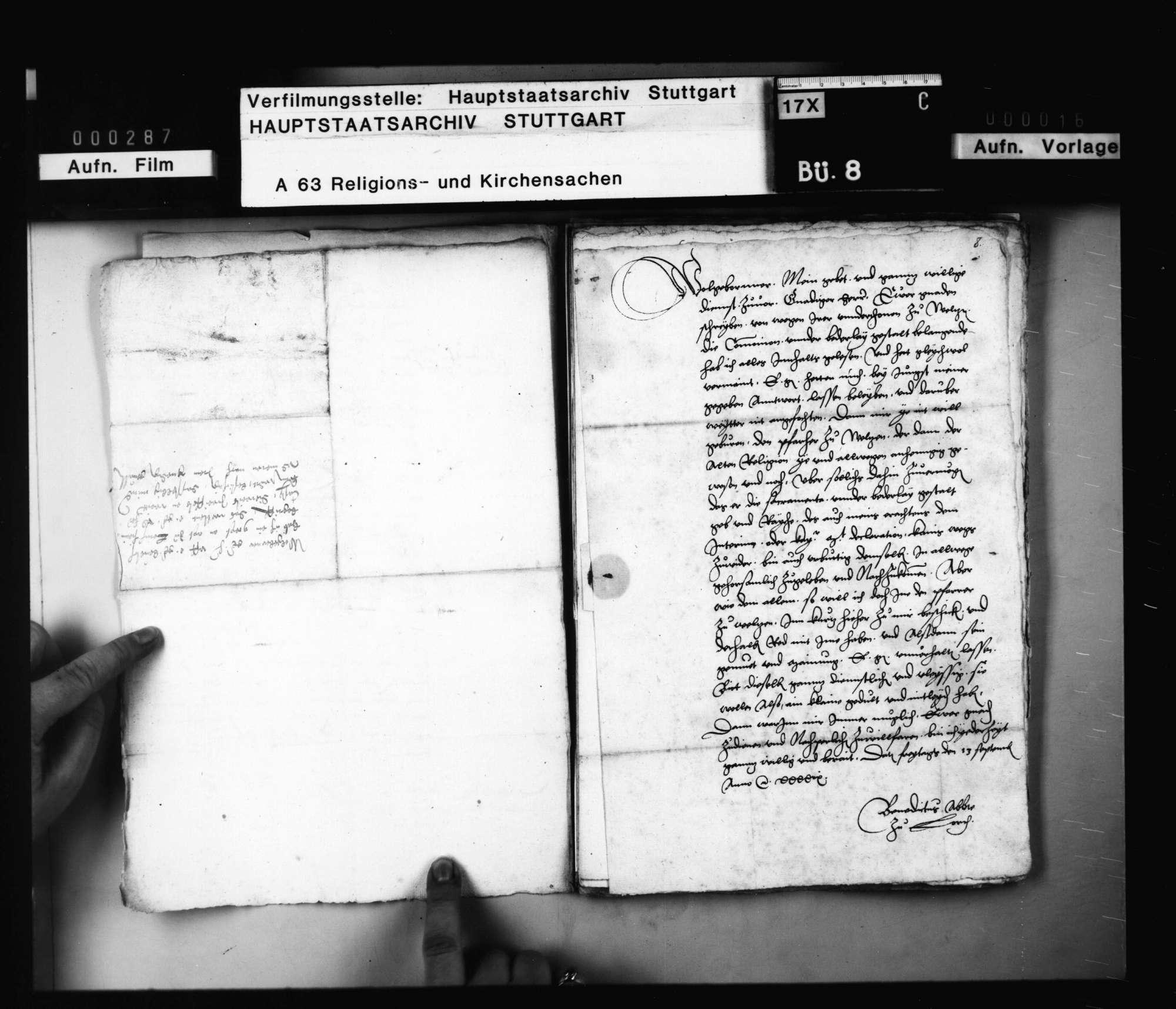 Schriften, betreffend die Austeilung des Abendmahls sub utraque forma in Welzheim während des Interims., Bild 3