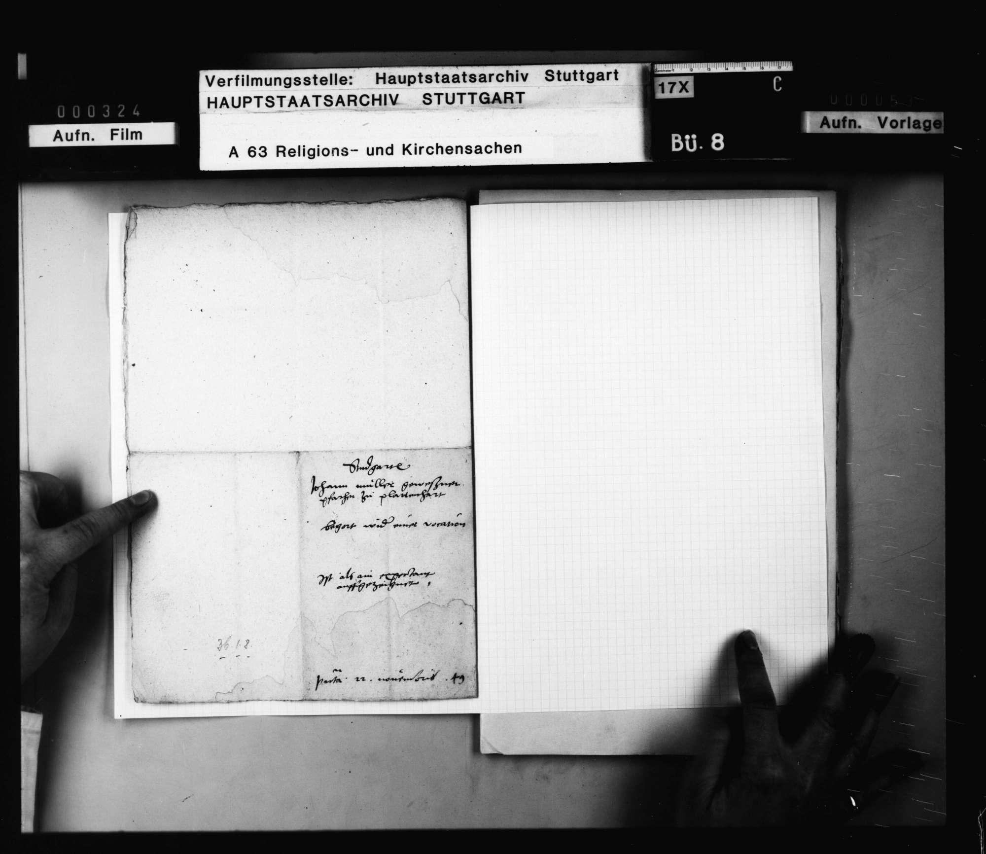 Johann Miller, gewesener Pfarrer in Plattenhardt, der zur Zeit der spanischen Verfolgung allein auch Echterdingen und Bernhausen versehen hat für 16 Wochen und der einzige Prädikant auf den Fildern gewesen ist, bittet um eine Verwendung., Bild 3
