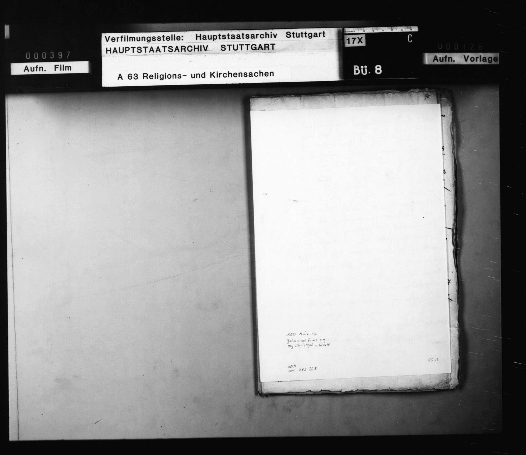 Schreiben von Brenz an Herzog Christoph, betreffend persönliche Angelegenheiten (Überstellung seiner Tochter Barbara in den Dienst der Herzogin, seine eigene Verwendung im Kirchendienst)., Bild 1