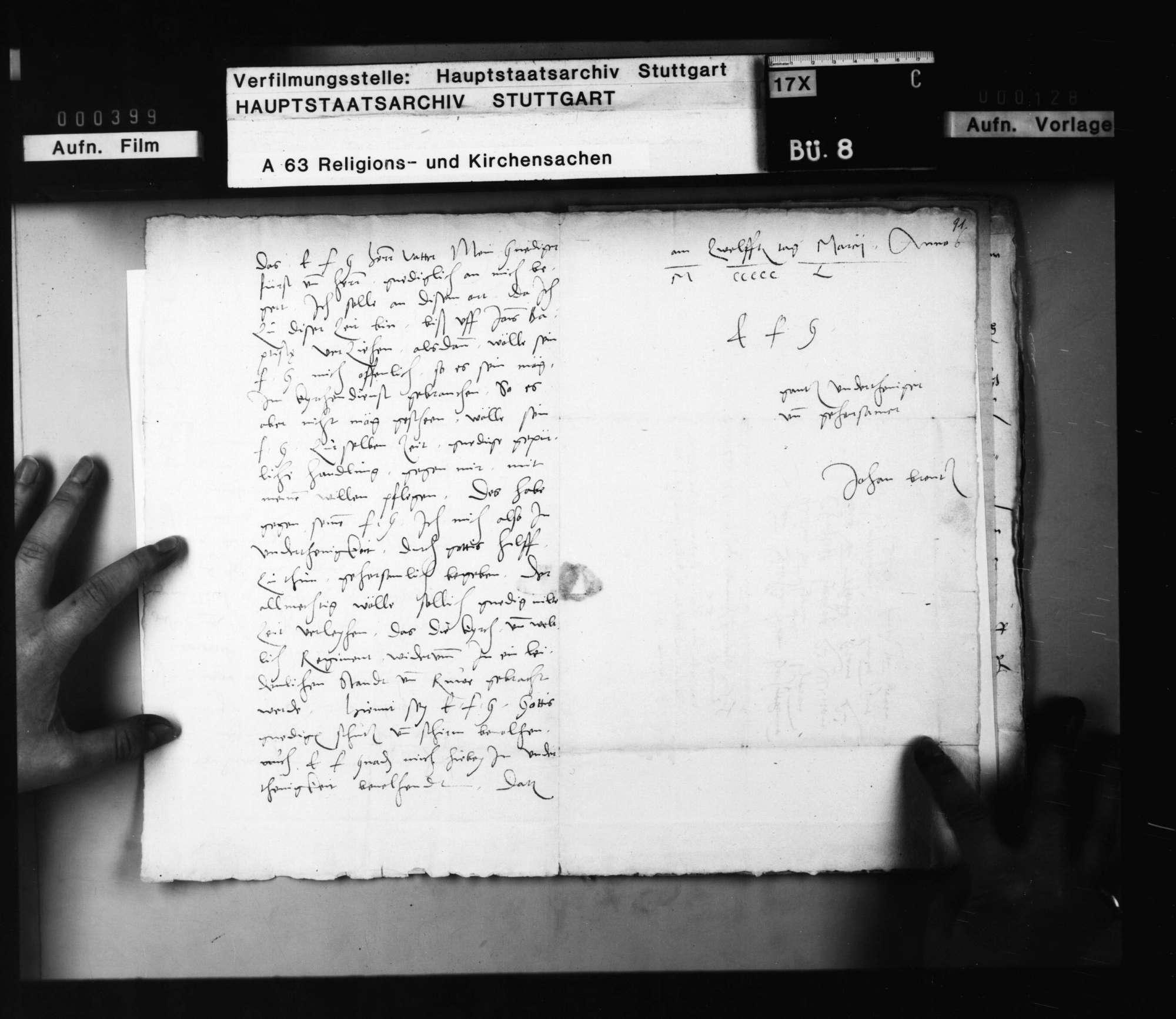 Schreiben von Brenz an Herzog Christoph, betreffend persönliche Angelegenheiten (Überstellung seiner Tochter Barbara in den Dienst der Herzogin, seine eigene Verwendung im Kirchendienst)., Bild 3