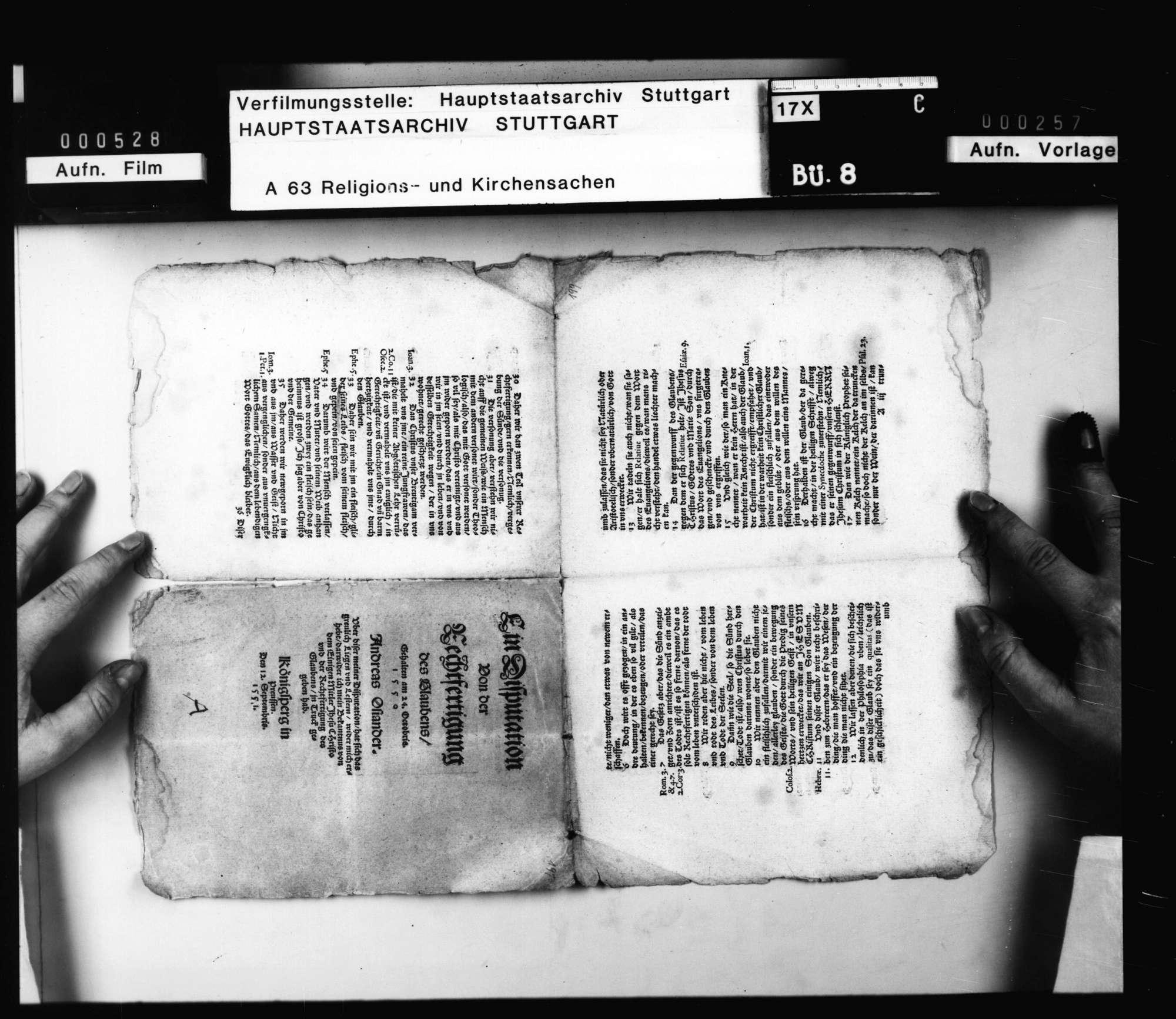 """""""Ein Disputation von der Rechtfertigung des Glaubens. Gehalten 24. Octobris 1550 [von] Andreas Osiander"""". Druck 1551 September 12, Königsberg. Seitenzählung (unten) 1 - 16., Bild 2"""