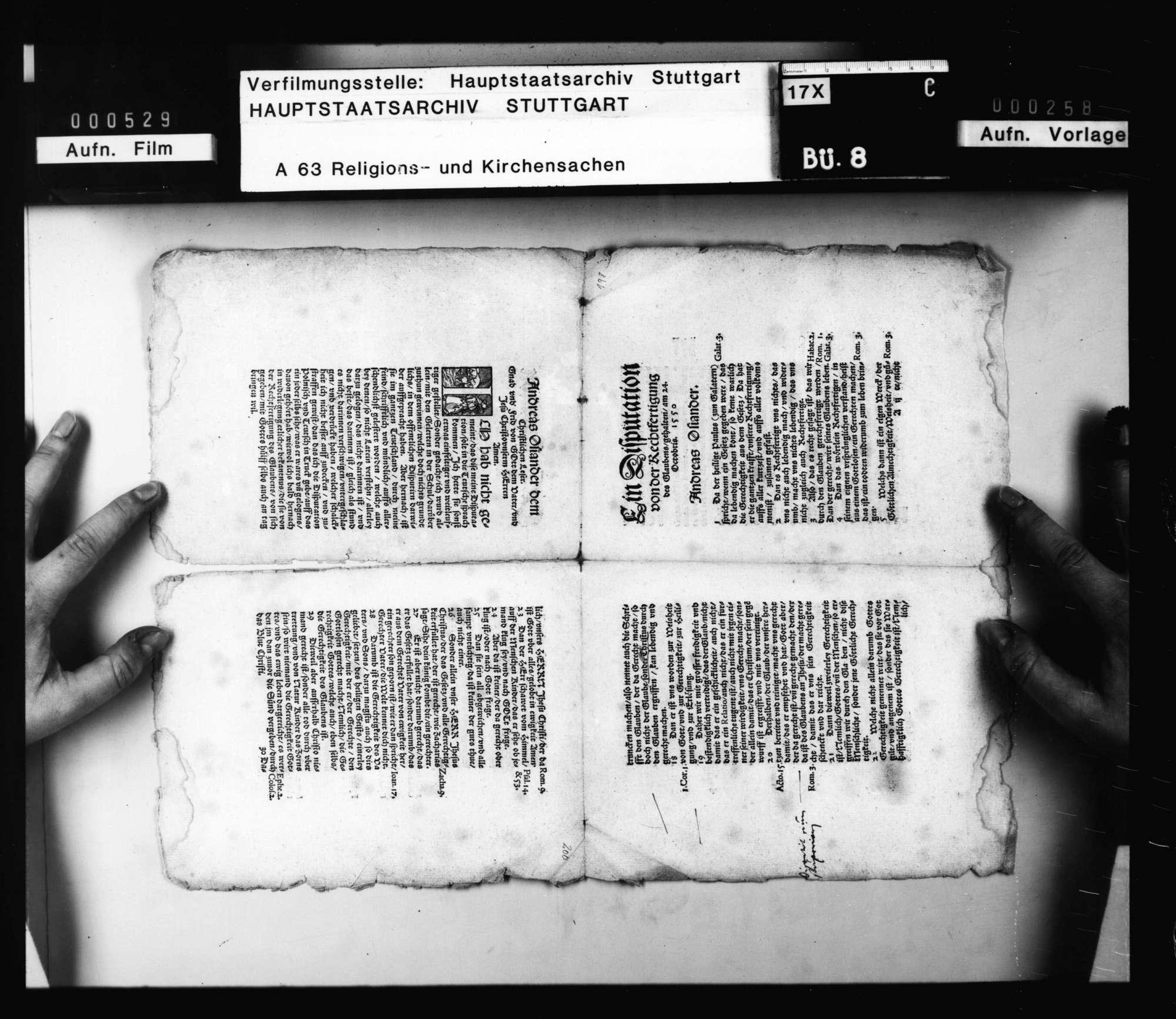 """""""Ein Disputation von der Rechtfertigung des Glaubens. Gehalten 24. Octobris 1550 [von] Andreas Osiander"""". Druck 1551 September 12, Königsberg. Seitenzählung (unten) 1 - 16., Bild 3"""