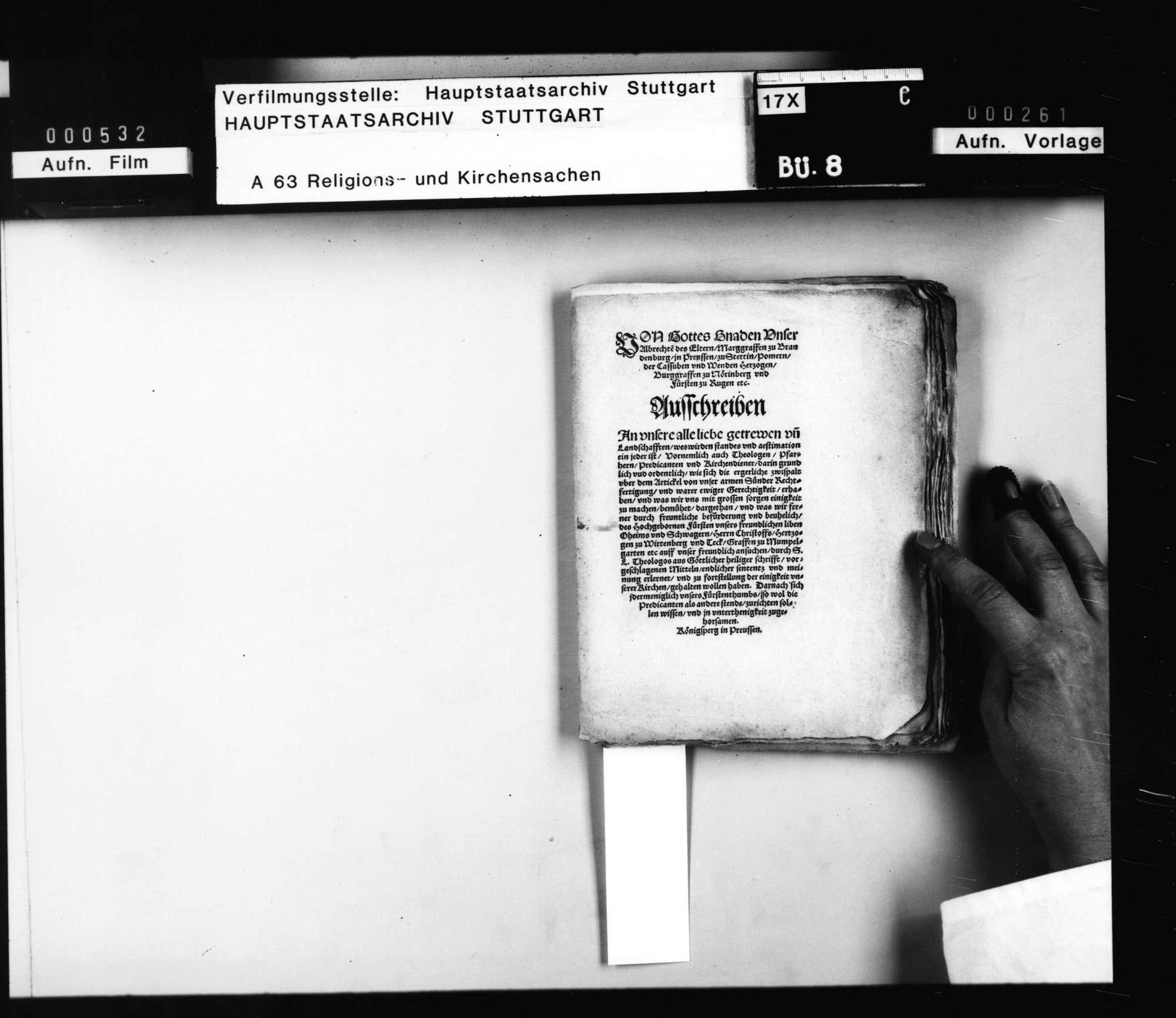 Einberufung der namhaften (brandenburg-preussischen) Theologen des Landes an der Universität Königsberg auf die Königsberger Versammlung auf den 11. Februar 1551 durch Markgraf Albrecht zu Brandenburg [..]., Bild 1