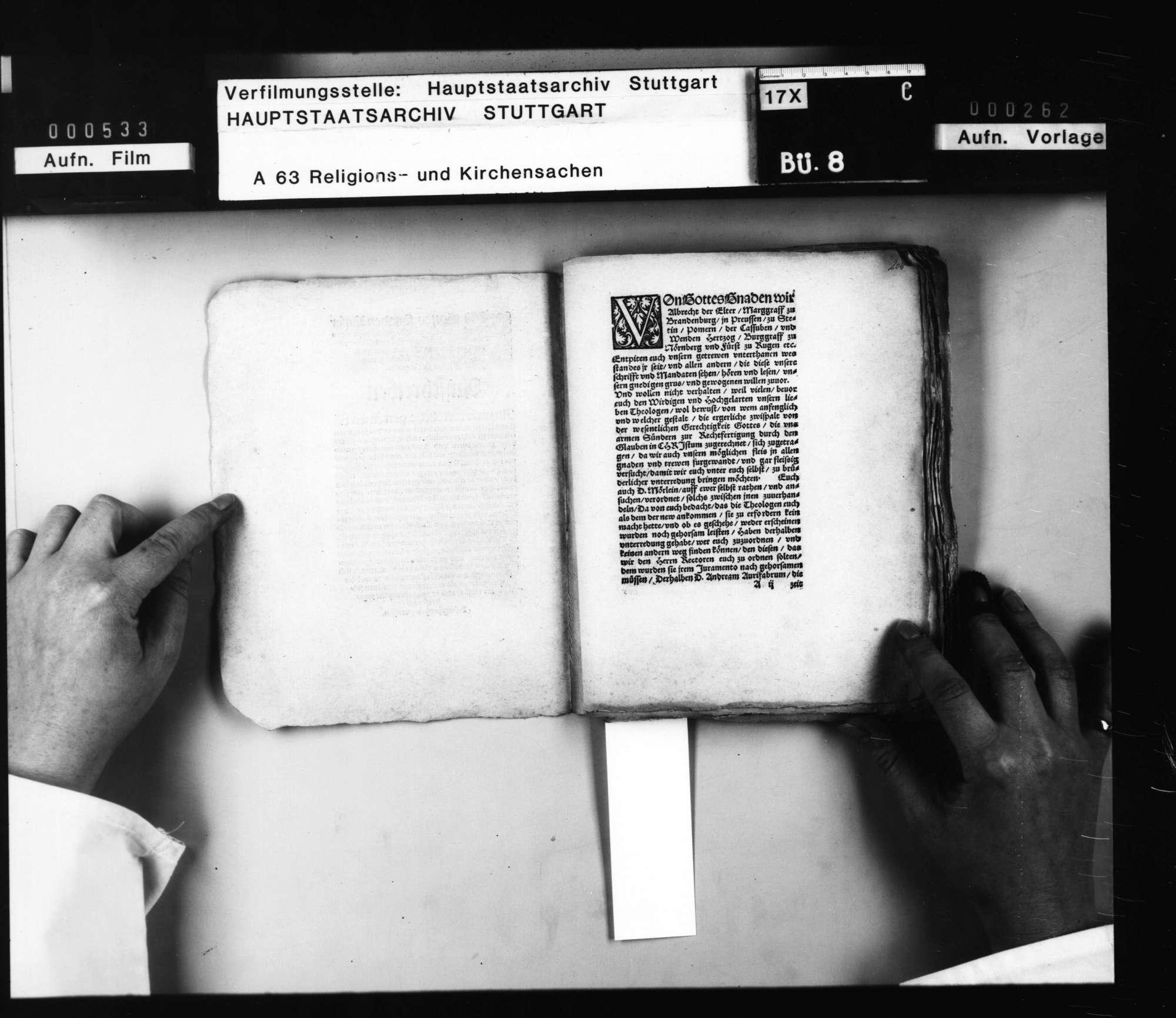 Einberufung der namhaften (brandenburg-preussischen) Theologen des Landes an der Universität Königsberg auf die Königsberger Versammlung auf den 11. Februar 1551 durch Markgraf Albrecht zu Brandenburg [..]., Bild 2