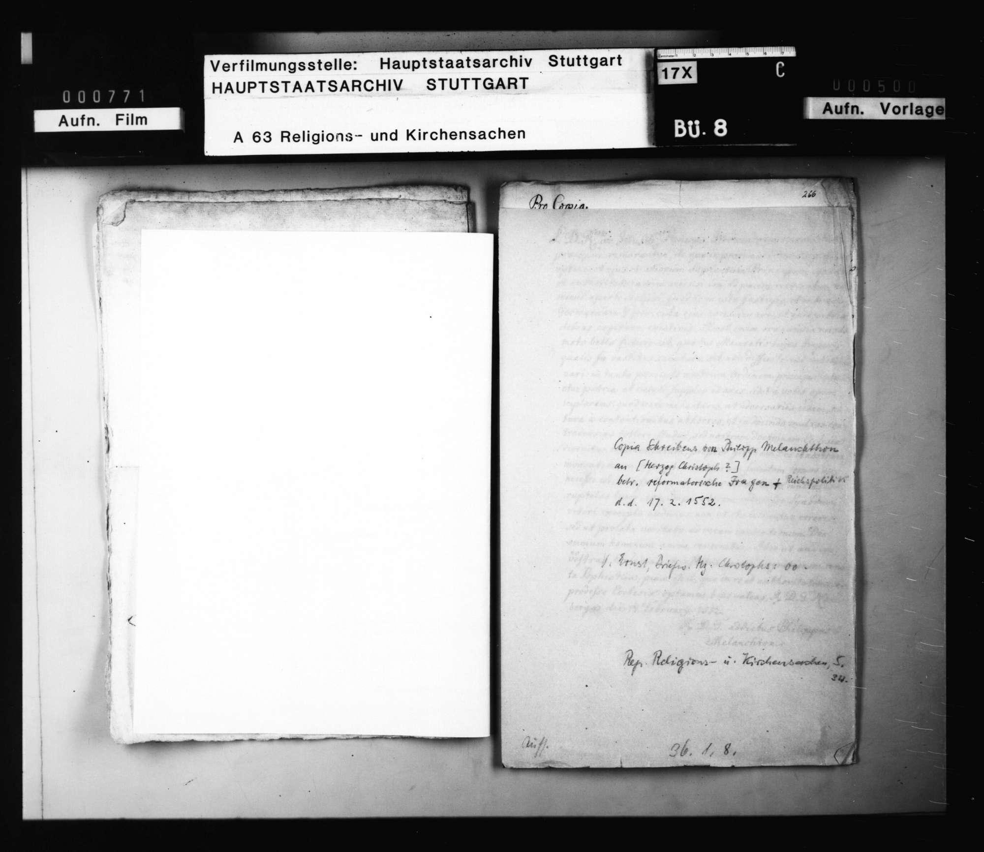 Rundschreiben von Philipp Melanchthon [an die Reichsfürsten], betreffend reformatorische und reichspolitische Fragen. Nürnberg (Abschrift)., Bild 1