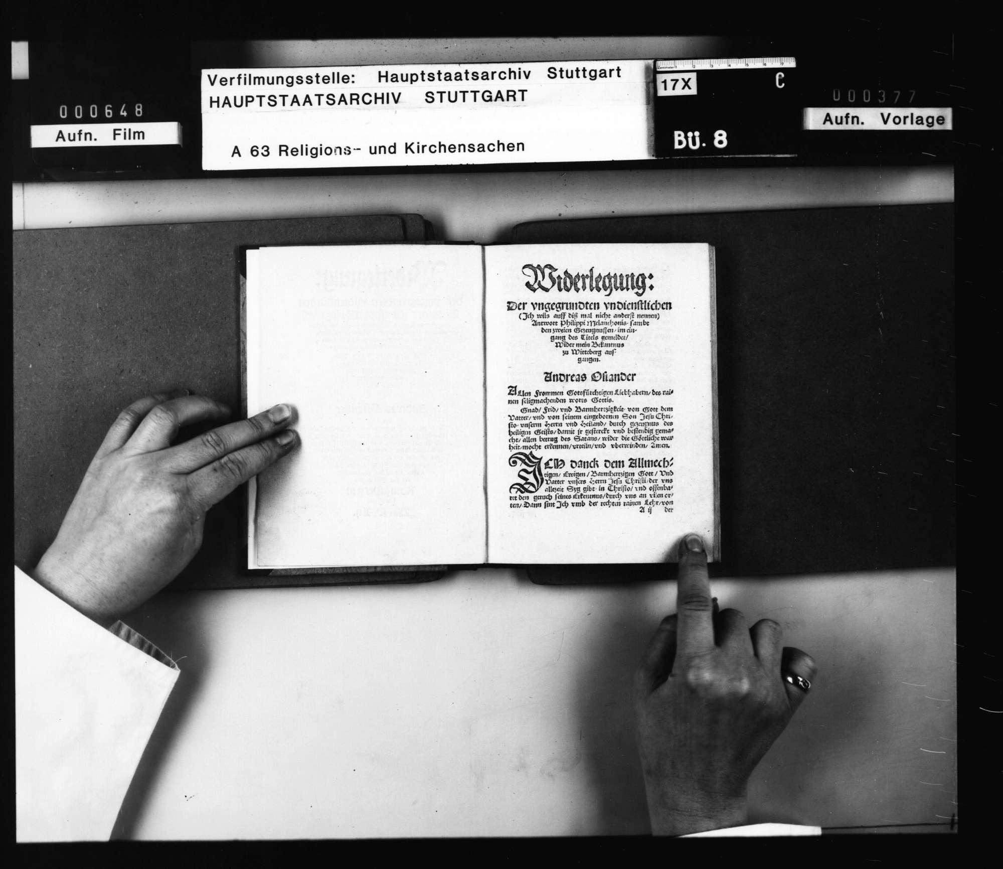 """Andreas Osiander: """"Widerlegung der ungegrundten undienlichen Antwort Philippi Melanchthons samt Doctor Johannis Pomerani unbedachten und Doctor Johannis Försters falschem Lesterzeugnis Wider mein Bekantnus zu Wittenberg aufgangen. Und ist Philippis Antwort sambt der Andern Zeugnissen hierein von Wort zu Wort einverleibt"""" Königsberg in Preussen 1552., Bild 3"""