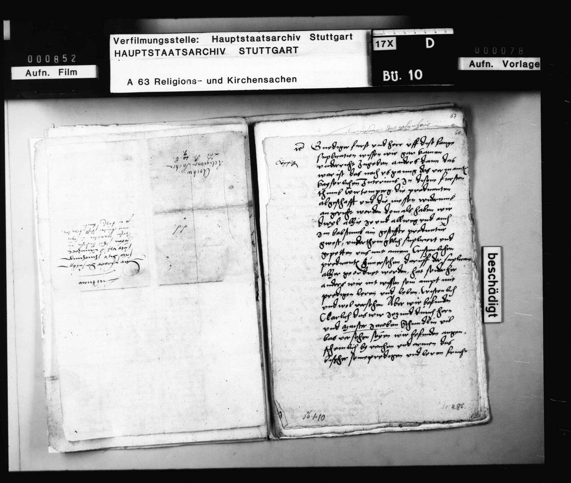Schreiben aus Göppingen, betreffend die amtliche Tätigkeit des Magisters Jakob Schmidlin (Andreä)., Bild 1